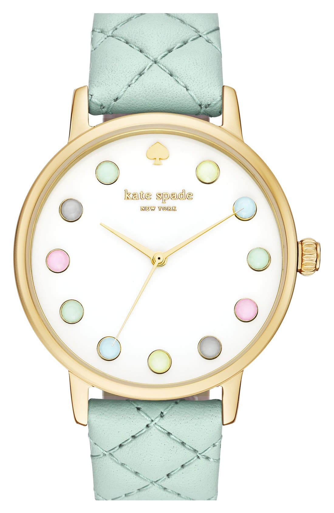 Alternate Image 1 Selected - kate spade new york 'metro - rainbow' leather strap watch, 38mm