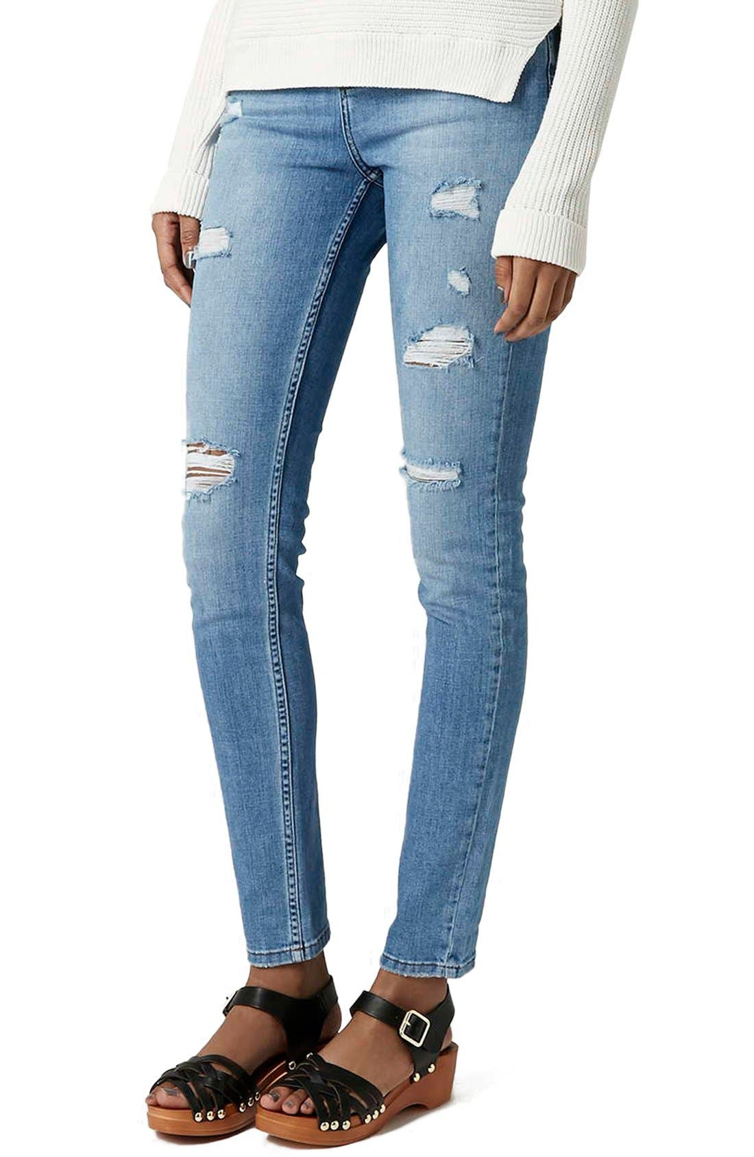 Alternate Image 1 Selected - Topshop Moto Ripped Skinny Jeans (Tall)
