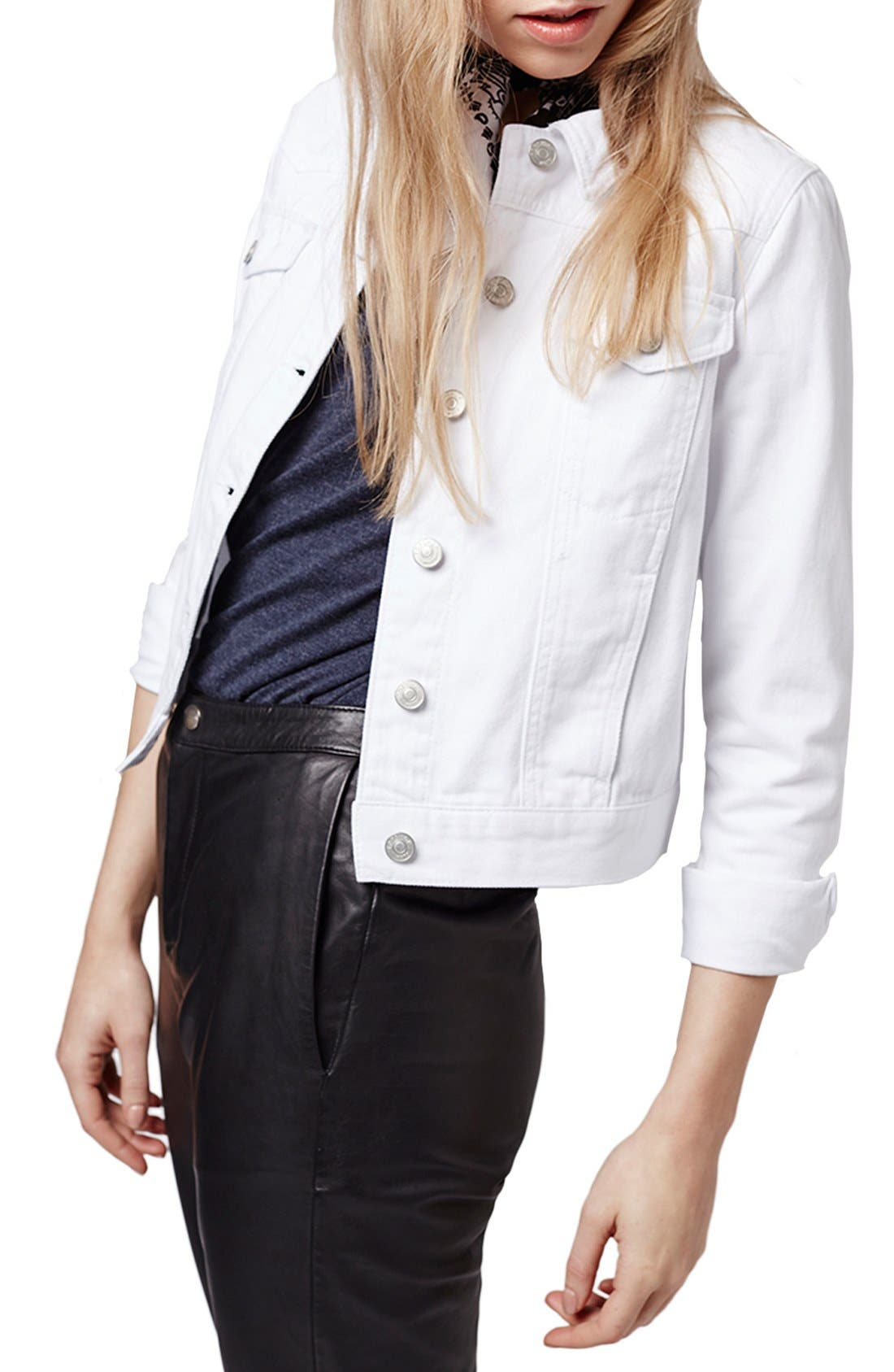 Main Image - Topshop Moto 'Tilda' Washed Denim Jacket (White)