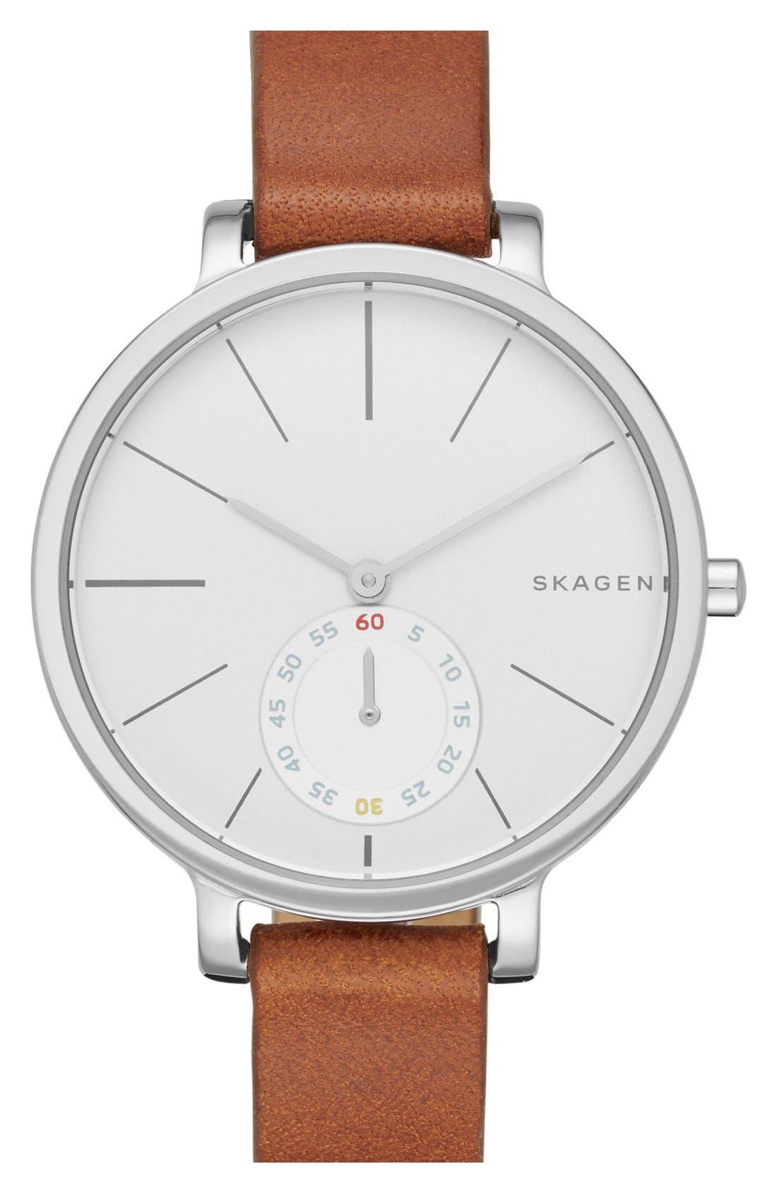 Alternate Image 1 Selected - Skagen 'Hagen' Leather Strap Watch, 34mm