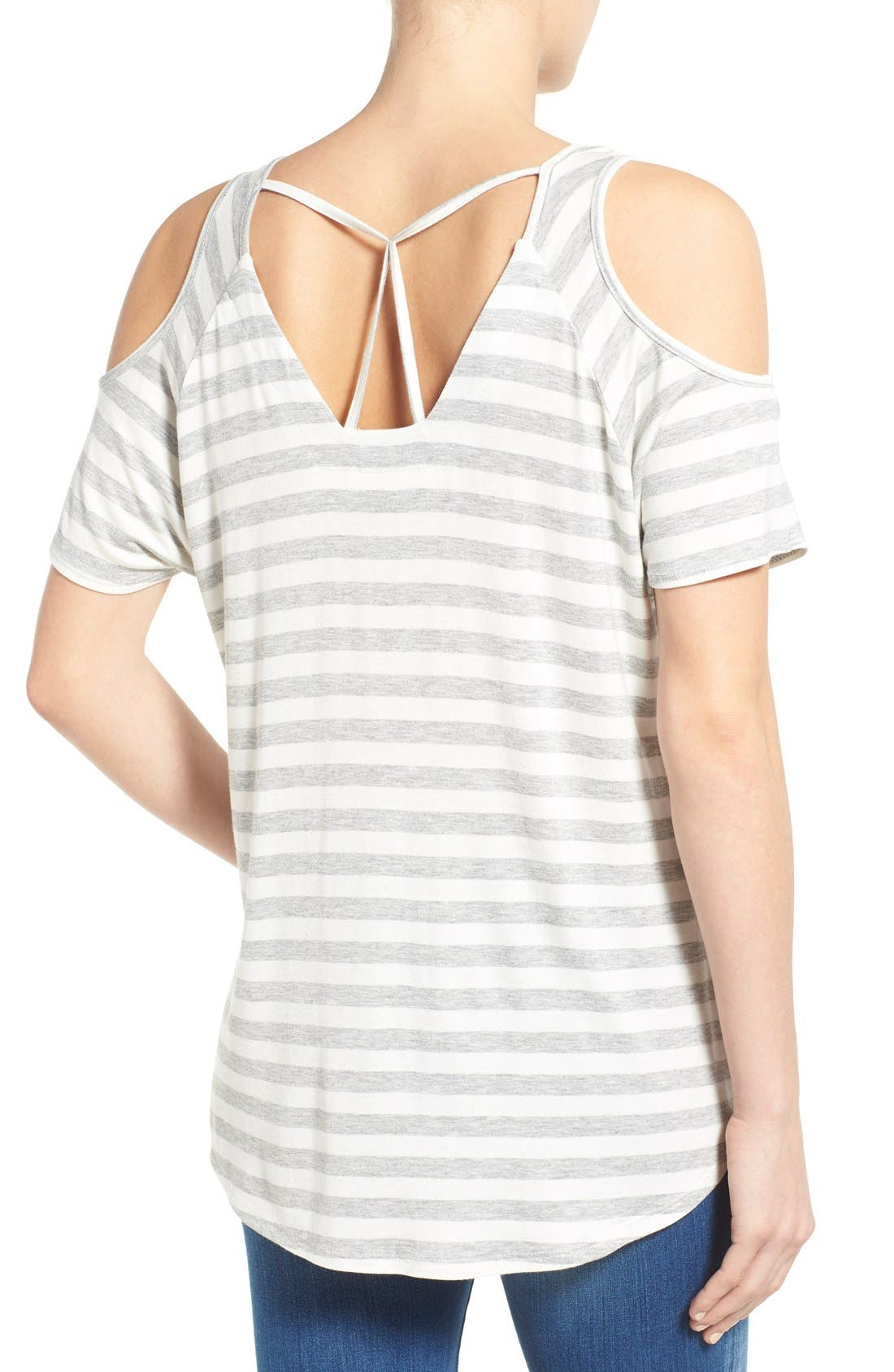 Alternate Image 2  - KUT from the Kloth 'Caroline' Cold Shoulder Stripe Top