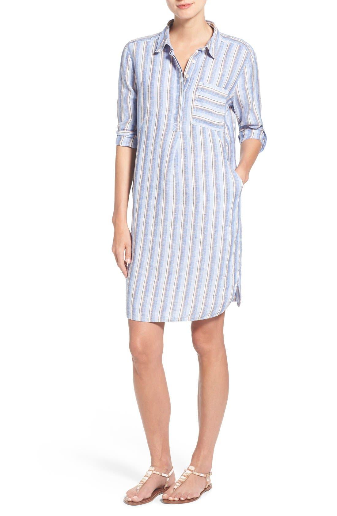 Alternate Image 1 Selected - Caslon® Linen Shirtdress (Regular & Petite)