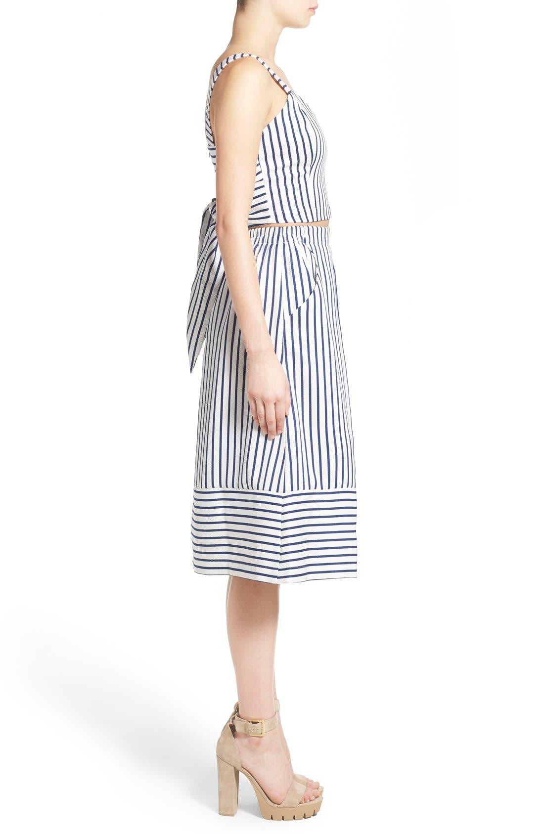 Alternate Image 4  - J.O.A. Cotton Poplin Stripe Midi Skirt