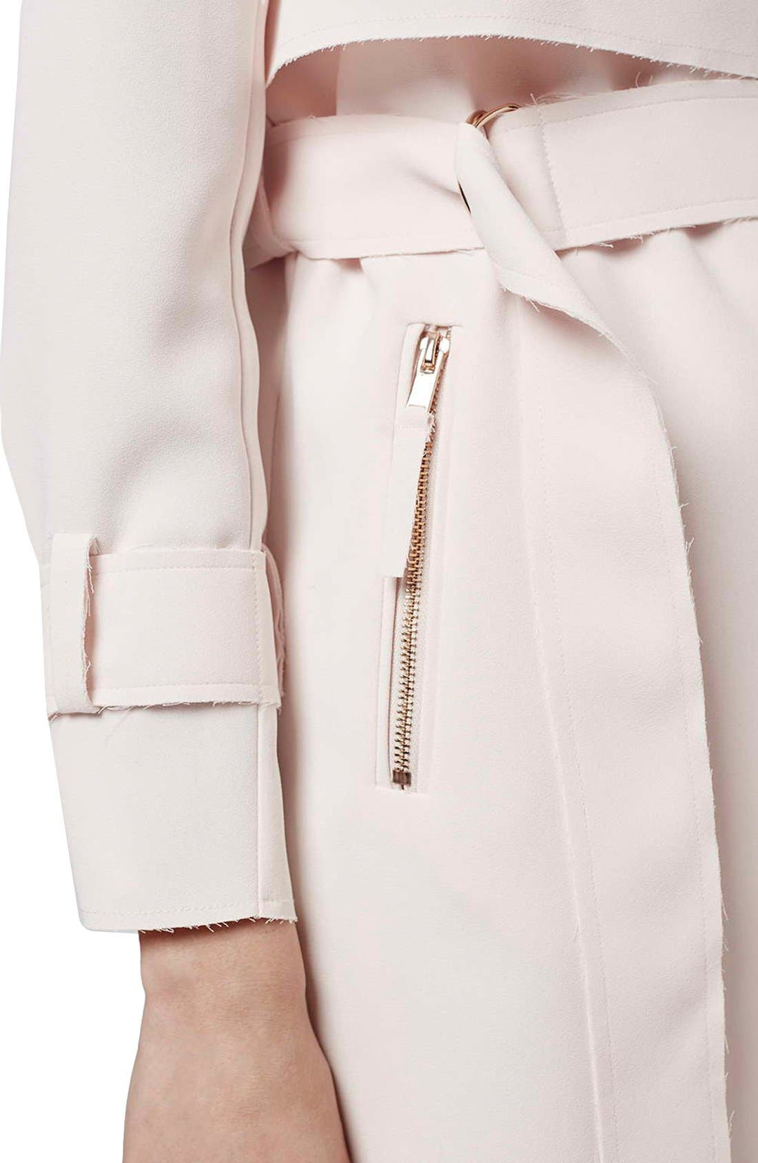 Alternate Image 5  - Topshop 'Putty' Raw Edge Belted Coat