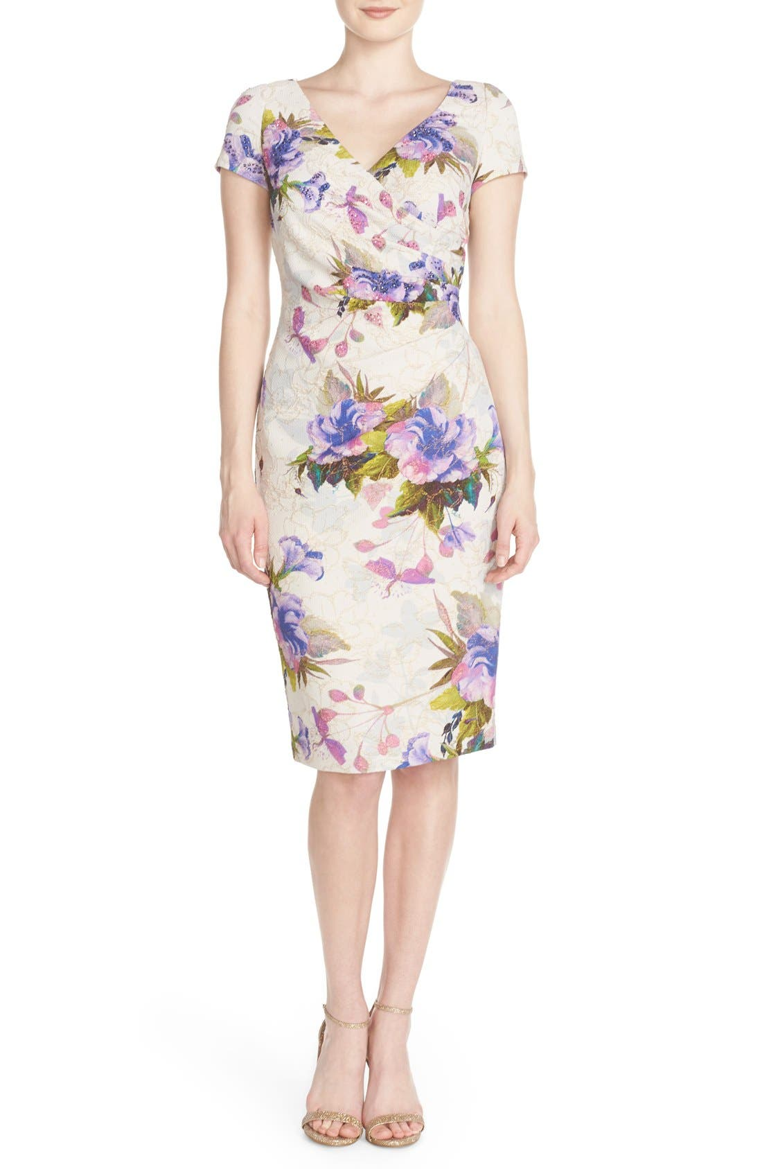 Alternate Image 1 Selected - Adrianna Papell 'Matlesse' Embellished Metallic Jacquard Sheath Dress
