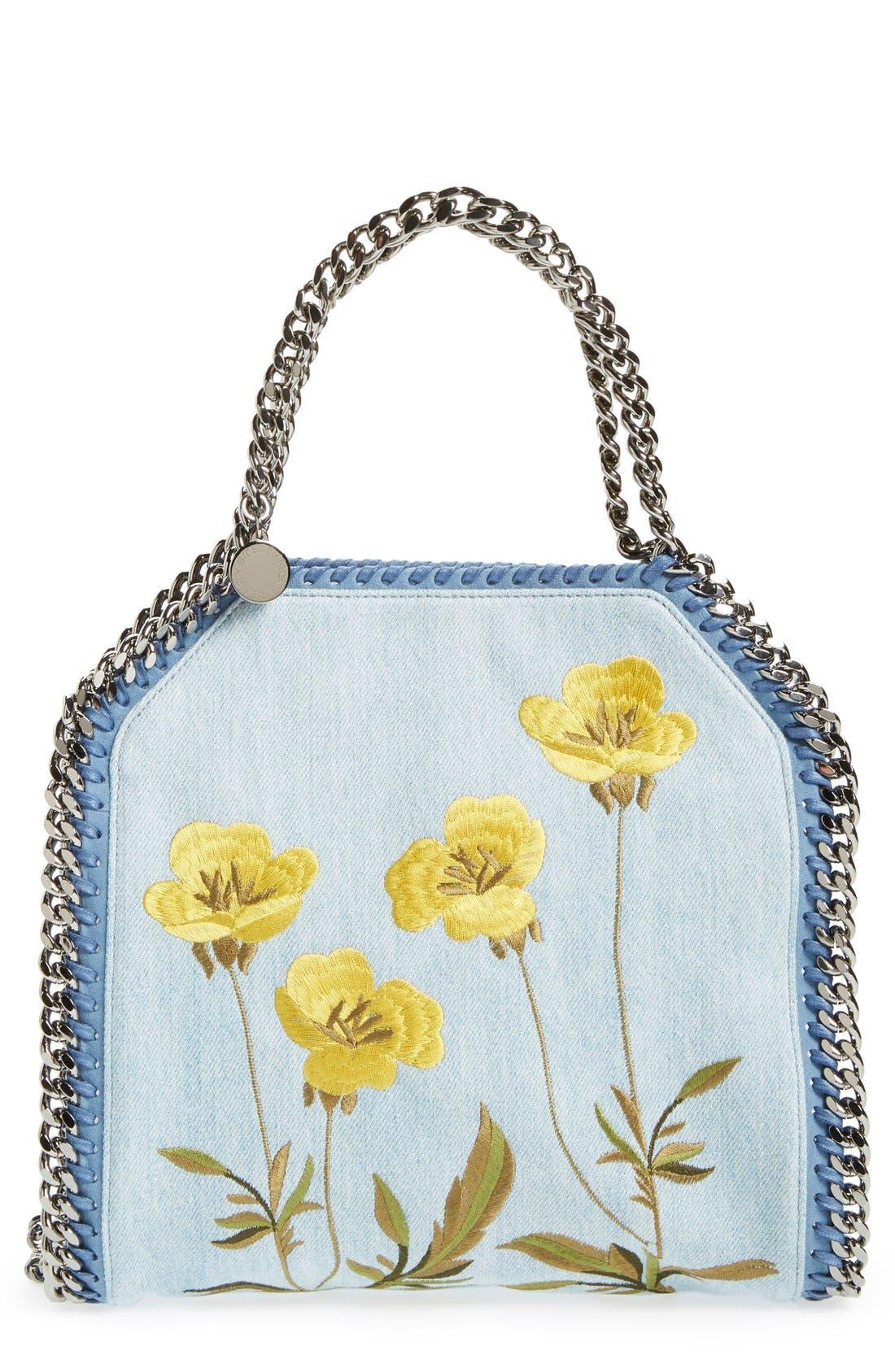Main Image - Stella McCartney 'Mini Falabella - Poppy' Embroidered Denim Tote