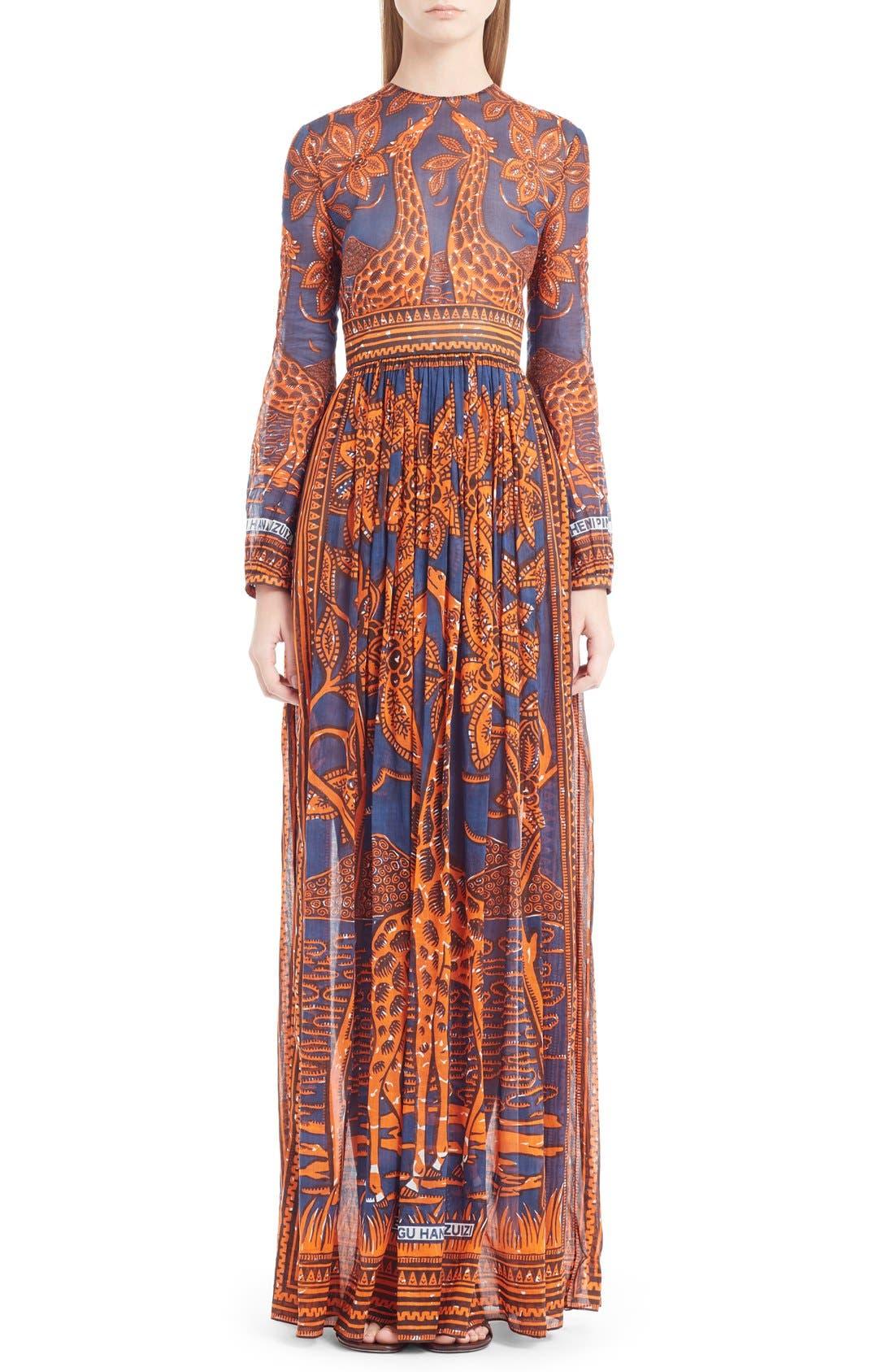 Alternate Image 1 Selected - Valentino Giraffe Print Cotton Gown