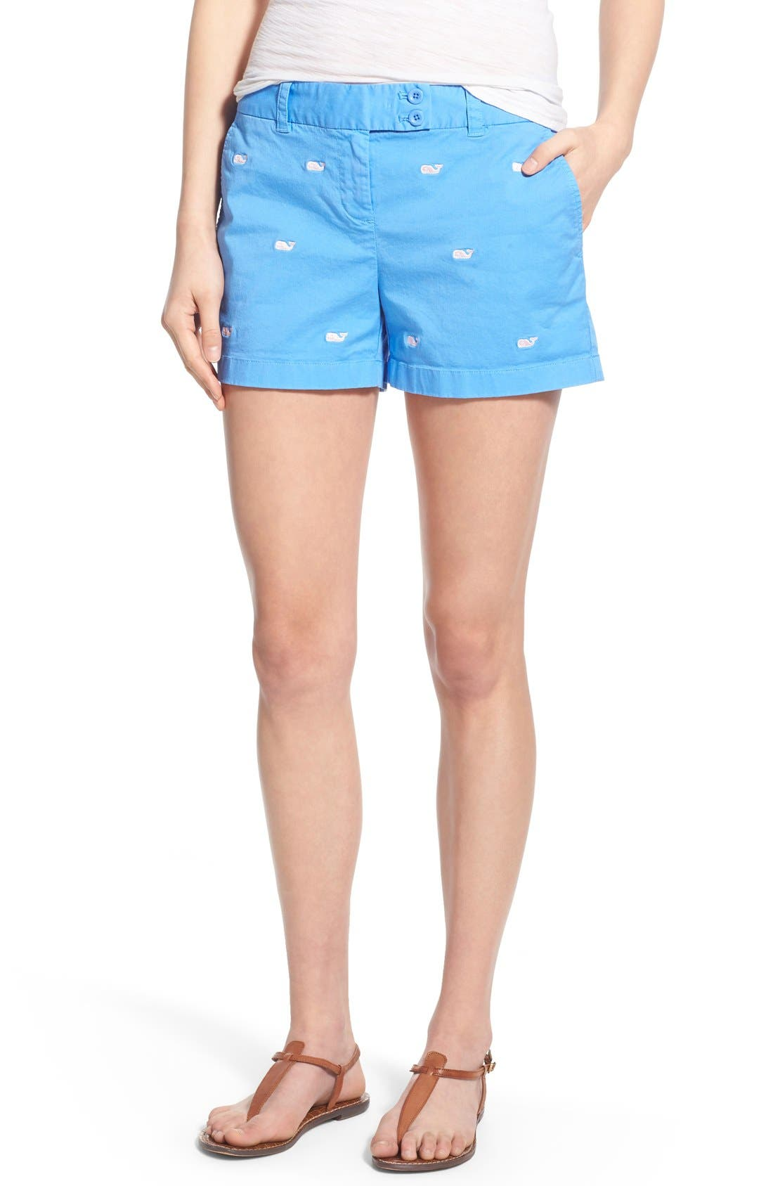 Main Image - Vineyard Vines 'Dayboat' Whale Embroidered Stretch Cotton Shorts