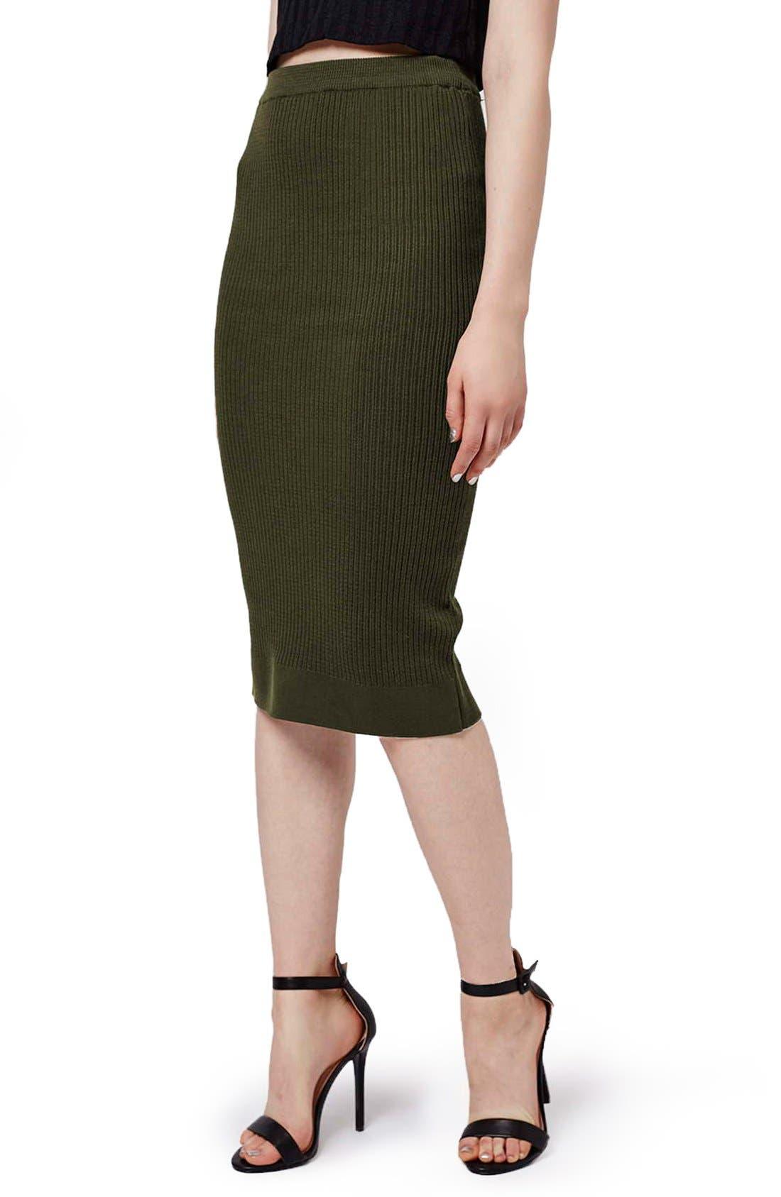 Main Image - Topshop Ribbed Body-Con Midi Skirt