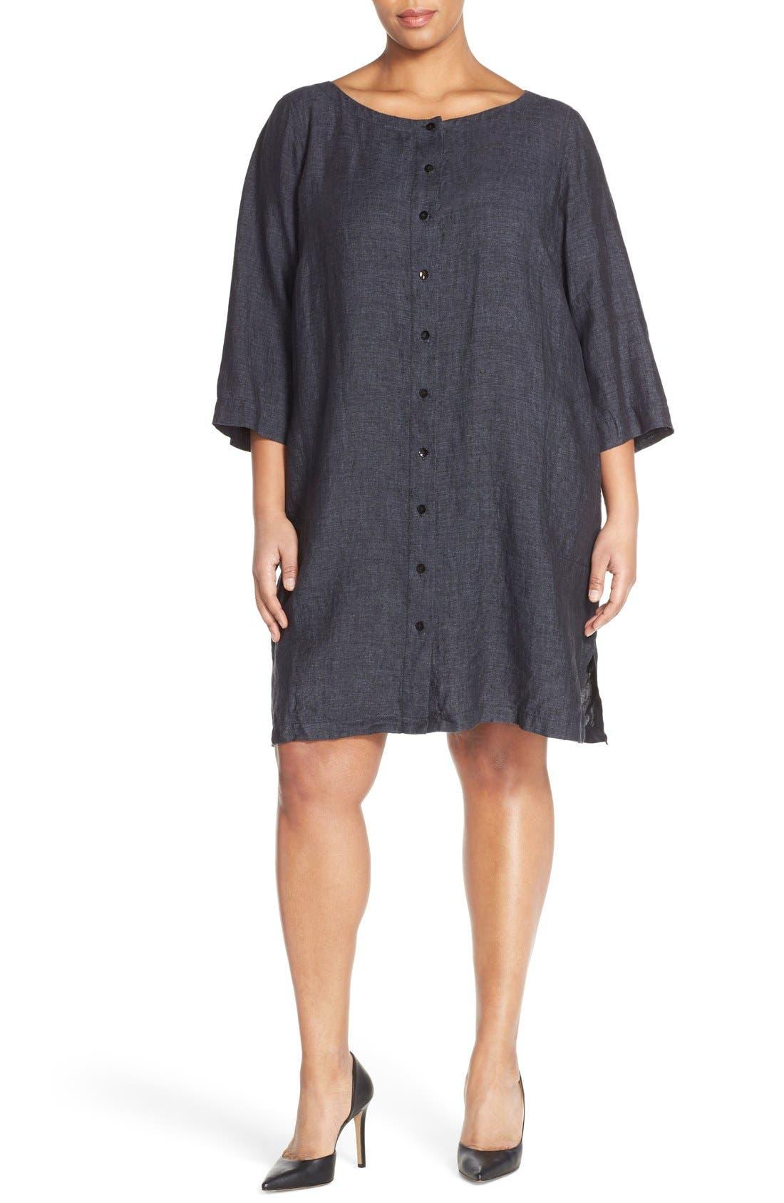 Alternate Image 4  - Eileen Fisher Organic Linen Bateau Neck Shift Dress (Plus Size)