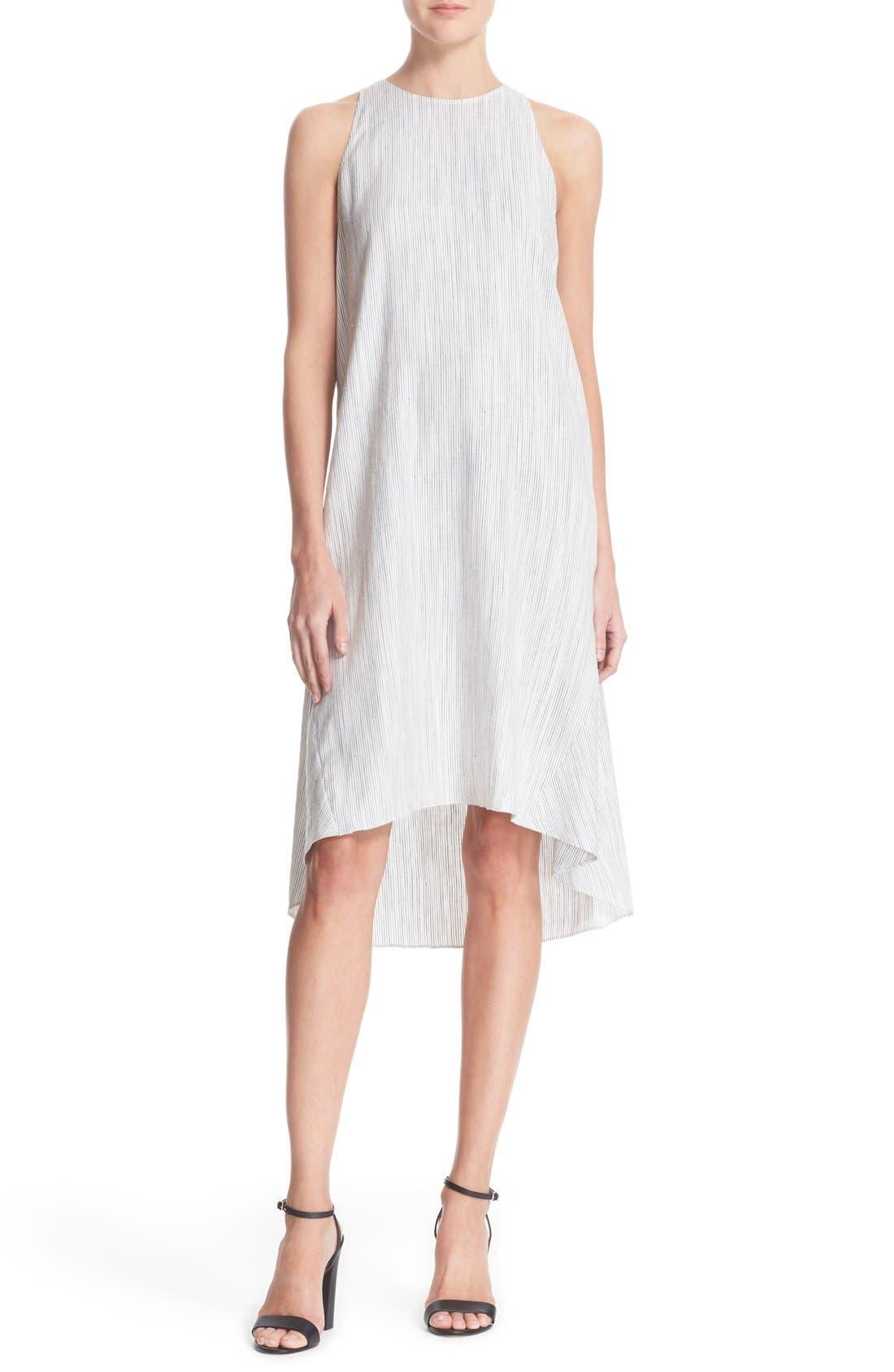 Main Image - Theory 'Adlerdale' Stripe Sleeveless Linen Blend Dress