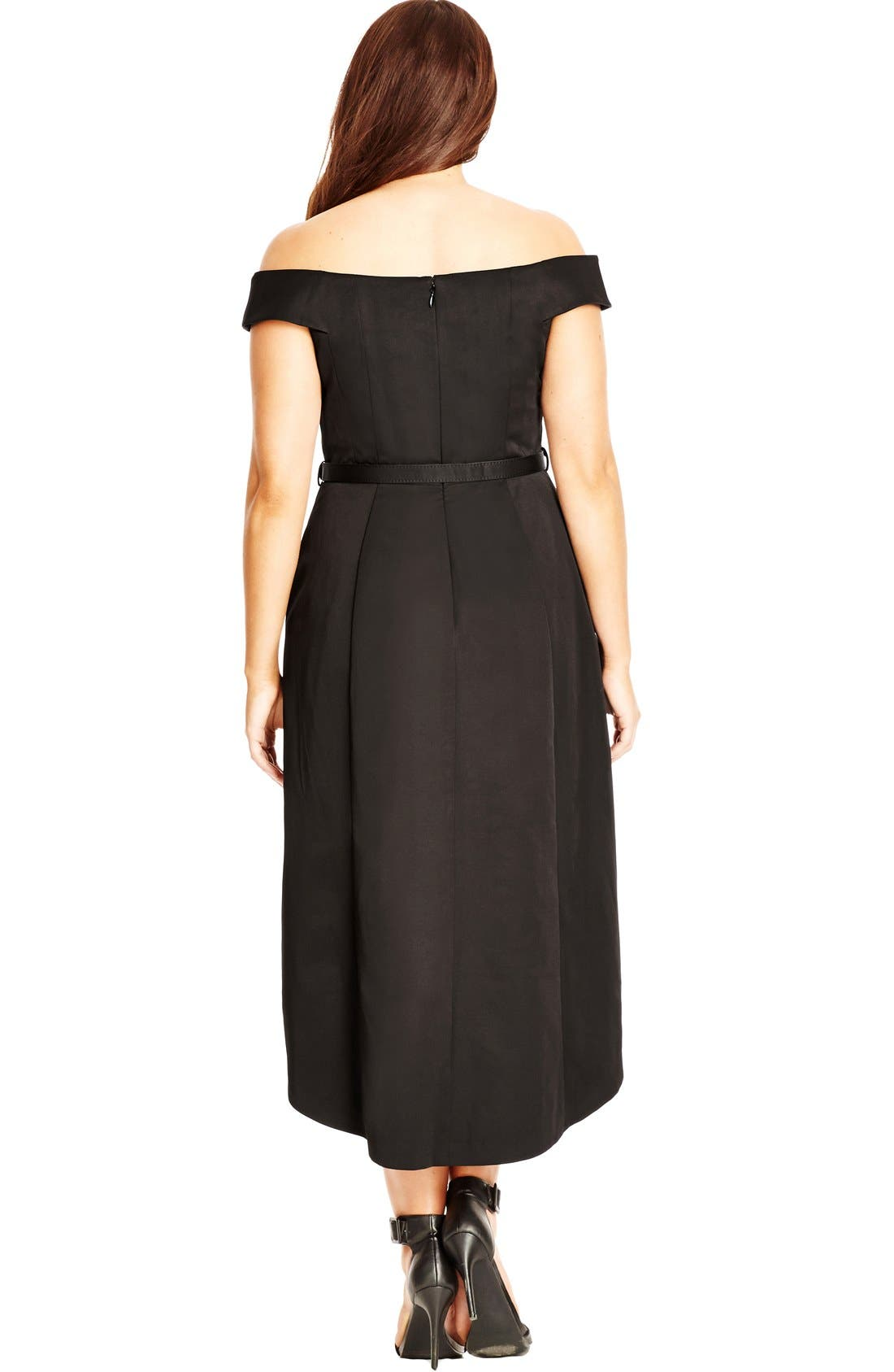 Alternate Image 2  - City Chic High/Low Off the Shoulder Dress (Plus Size)