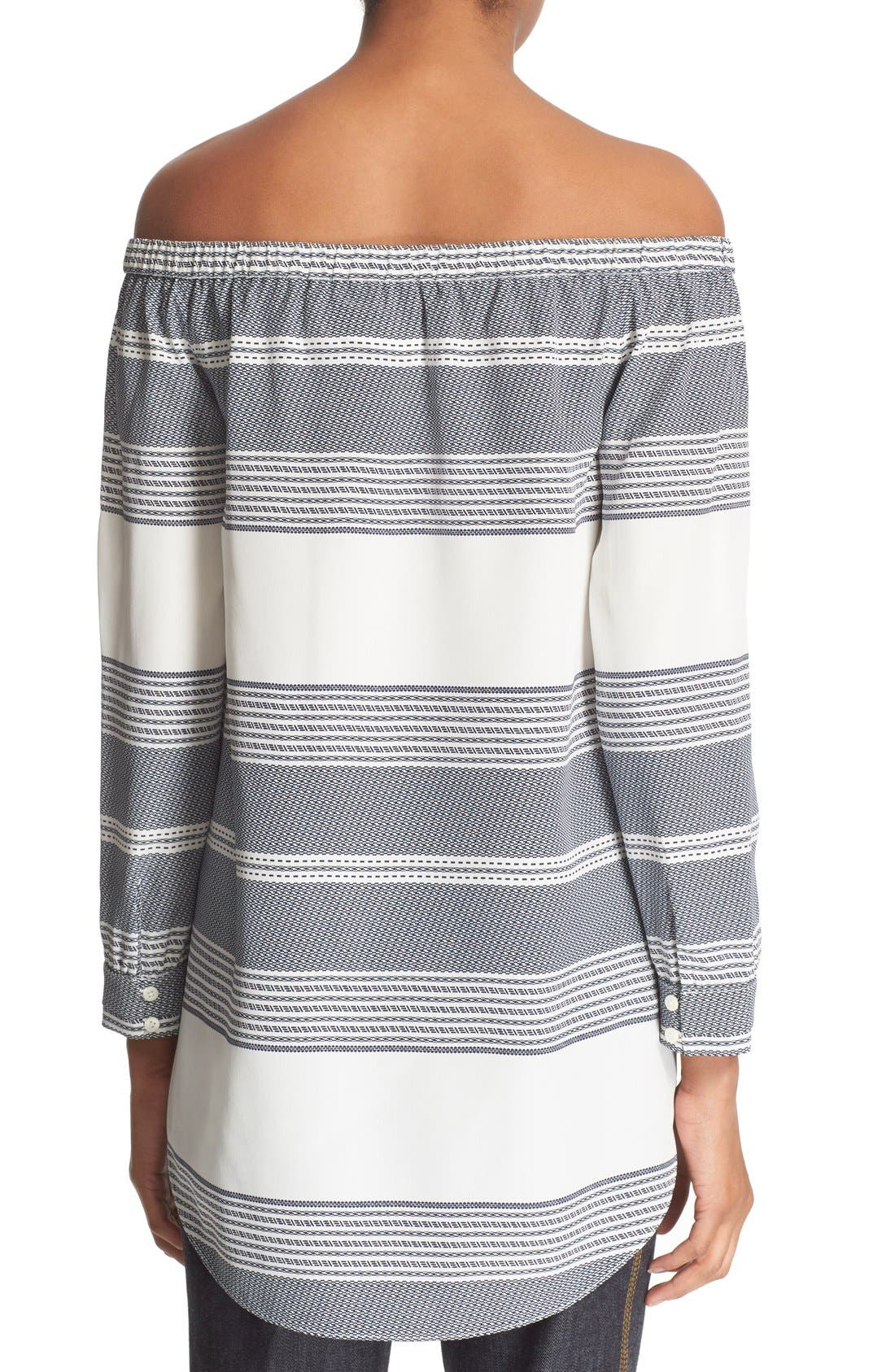Alternate Image 2  - Derek Lam 10 Crosby Off the Shoulder Stripe Silk Top