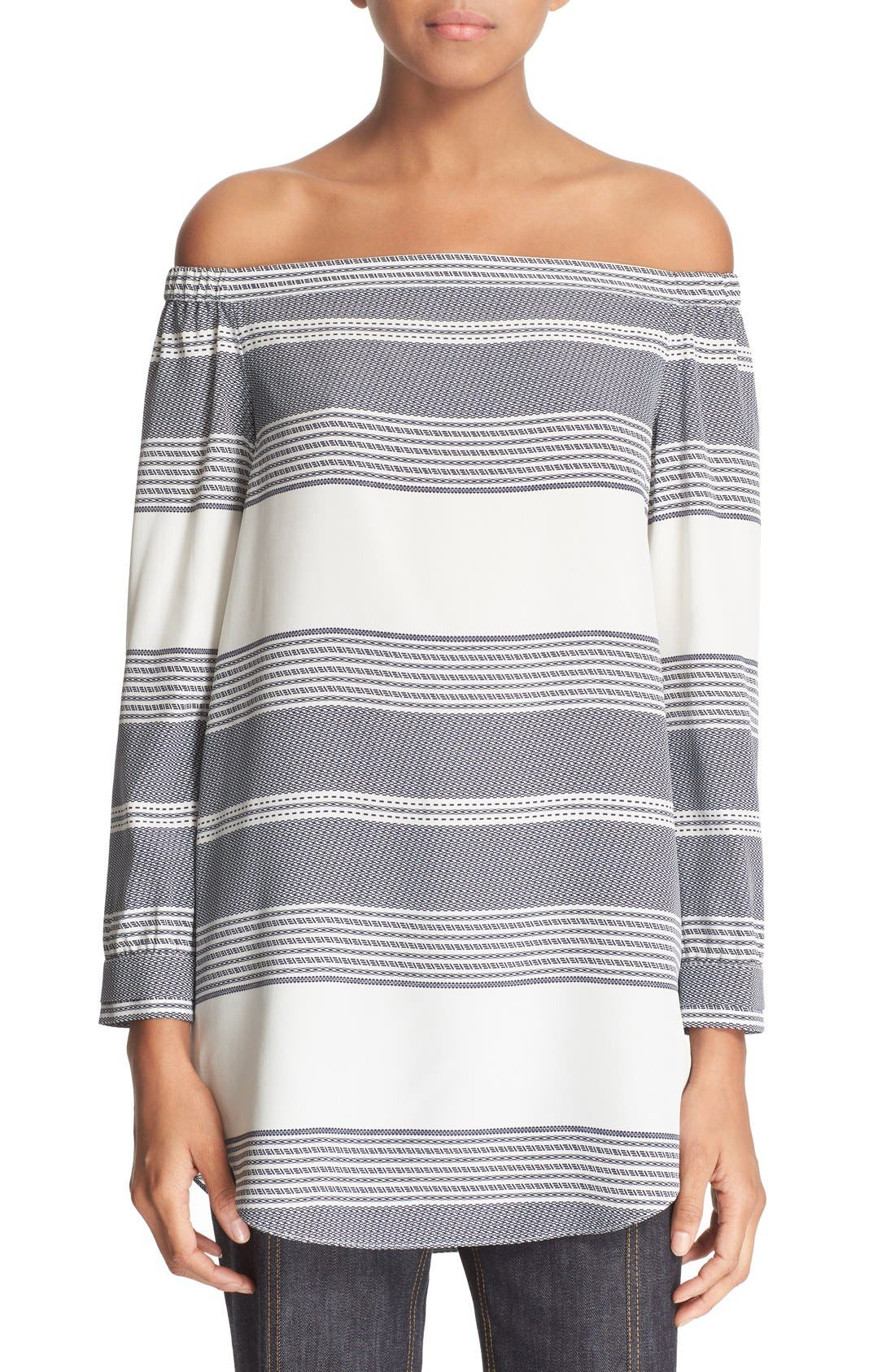 Alternate Image 1 Selected - Derek Lam 10 Crosby Off the Shoulder Stripe Silk Top