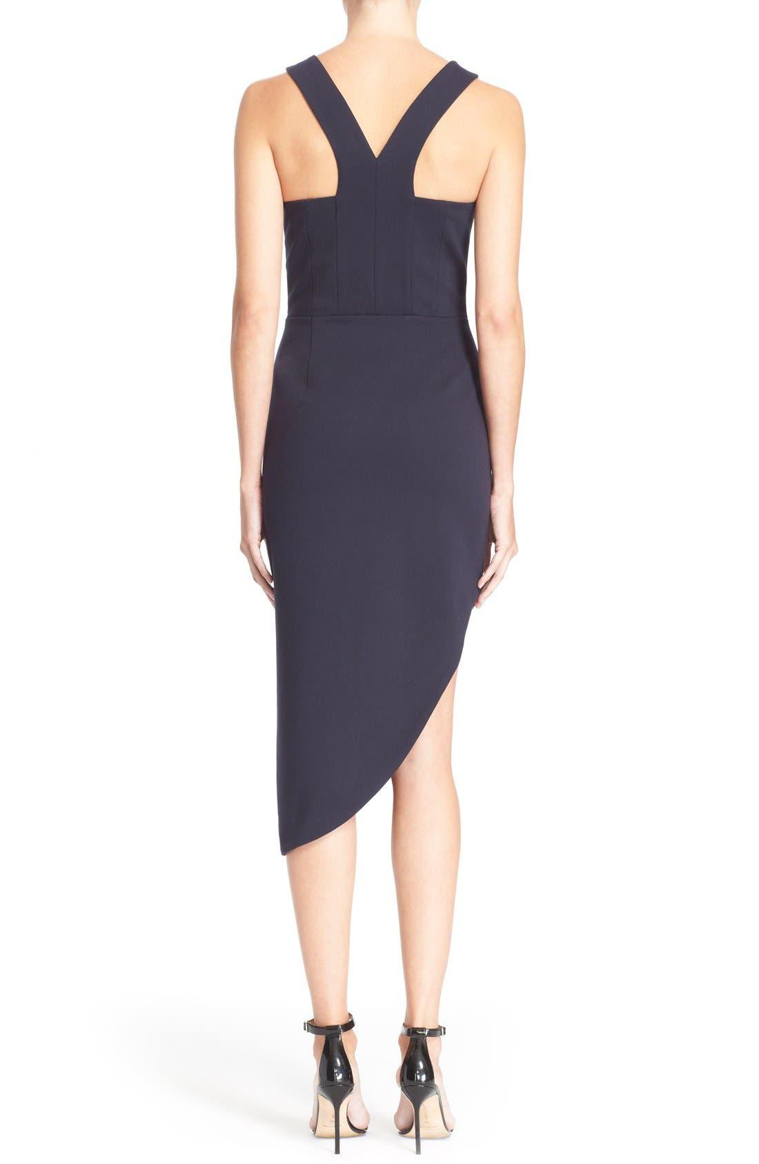 Alternate Image 2  - N Nicholas 'Ponti Curve' Halter Dress with Asymmetrical Hem