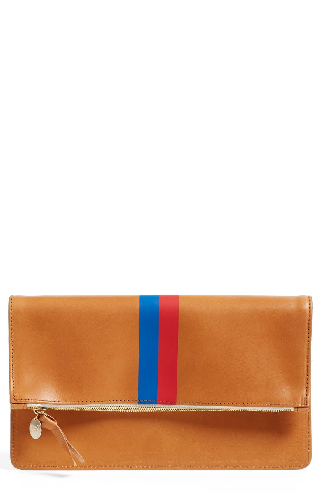 Main Image - Clare V. 'Margot' Stripe Leather Foldover Clutch