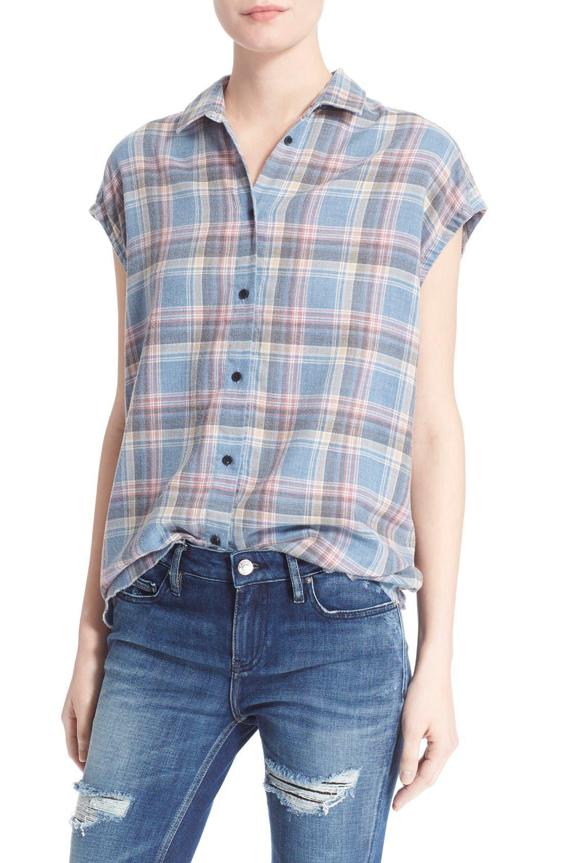Alternate Image 1 Selected - IRO 'Dally' Woven Plaid Cap Sleeve Shirt