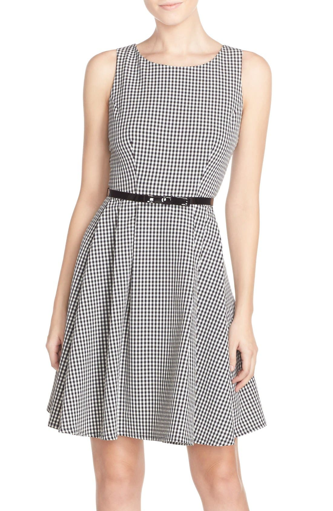 Main Image - Gabby Skye Gingham Fit & Flare Dress