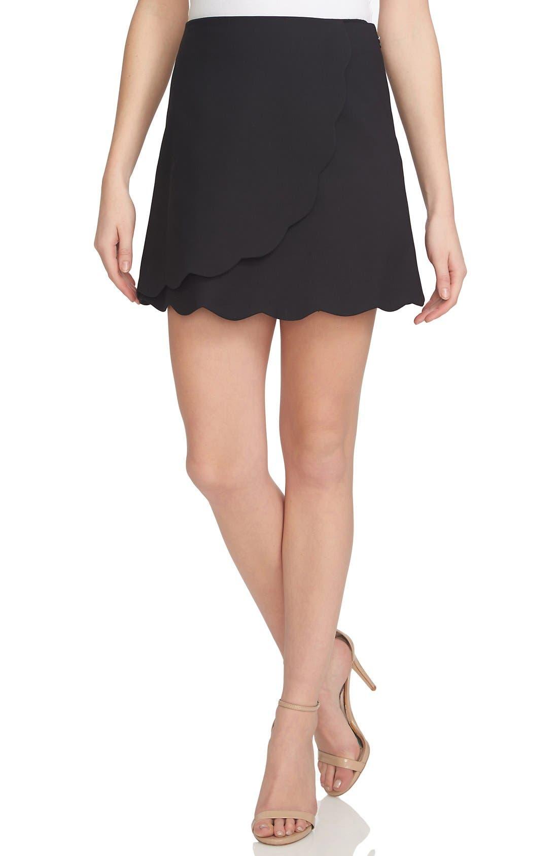 Main Image - 1.STATE Scallop Hem Wrap Front Miniskirt