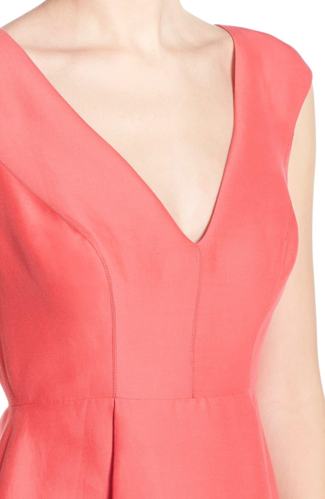 Alternate Image 4  - Halston Heritage Cap Sleeve High/Low Fit & Flare Dress