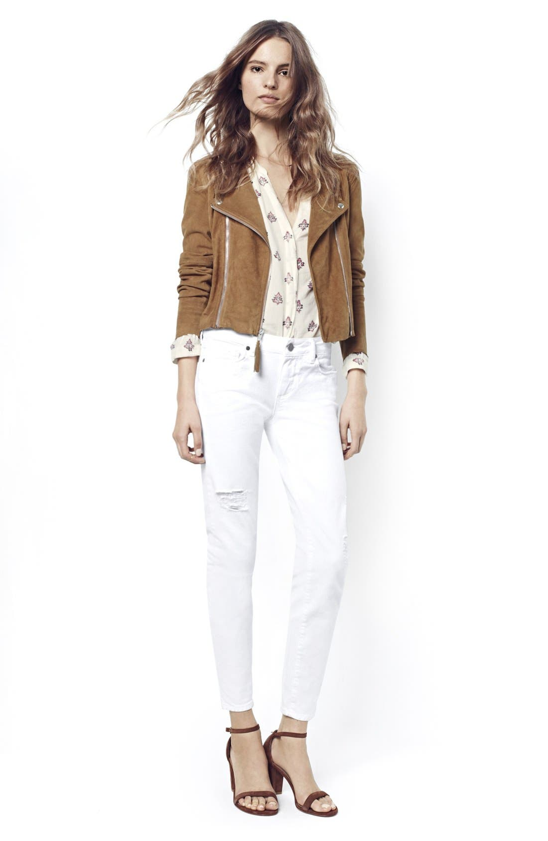Alternate Image 6  - PAIGE 'Verdugo' Ankle Skinny Jeans (Arctic White Destructed)