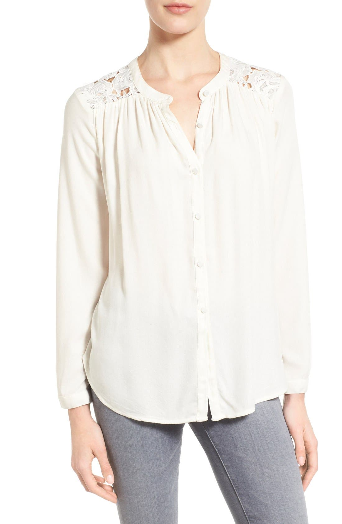 Main Image - Ella Moss 'Cresent' Lace Contrast Blouse