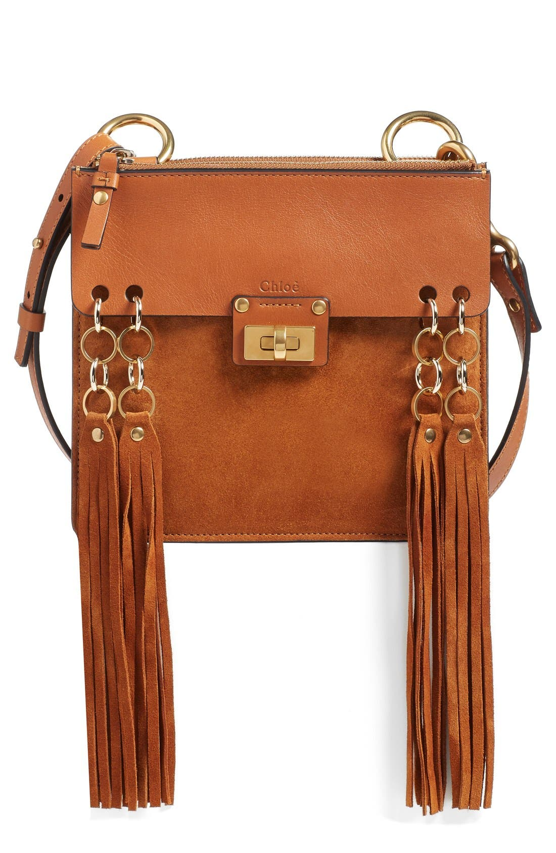 Alternate Image 1 Selected - Chloé 'Small Jane' Tassel Suede & Leather Crossbody Bag