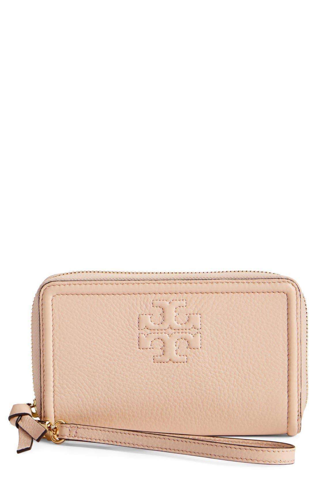 Main Image - Tory Burch 'Thea' Leather Wristlet