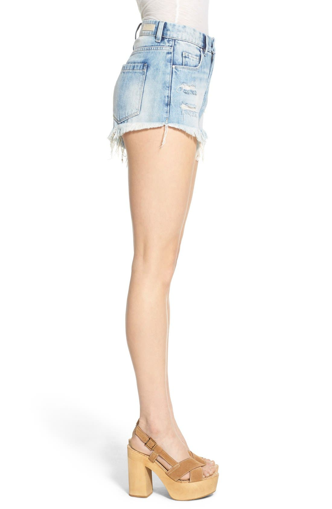 Alternate Image 3  - BLANKNYC Distressed Cutoff Denim Shorts (All Night Long)