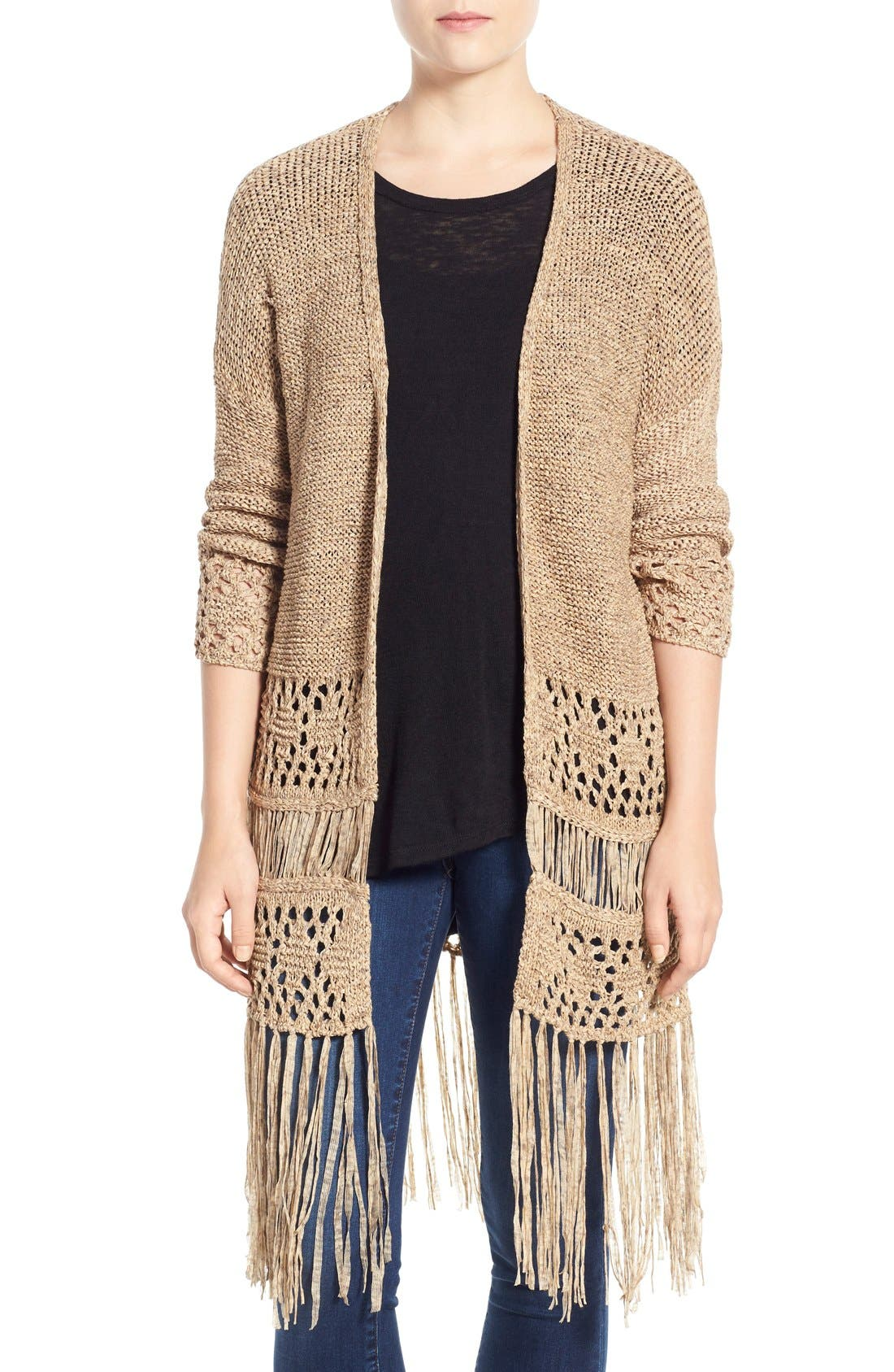 Main Image - Dex Fringe Hem Tape Yarn Cardigan