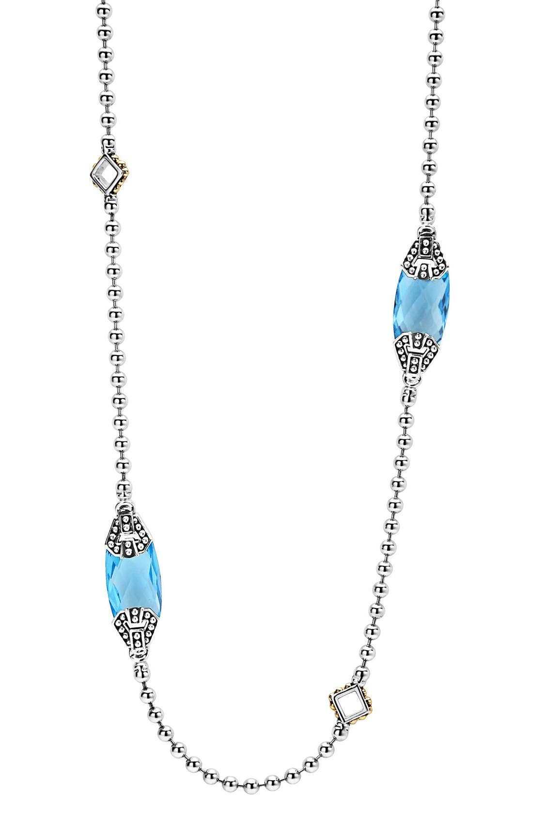 LAGOS 'Caviar Color' Long Semiprecious Stone Station Necklace