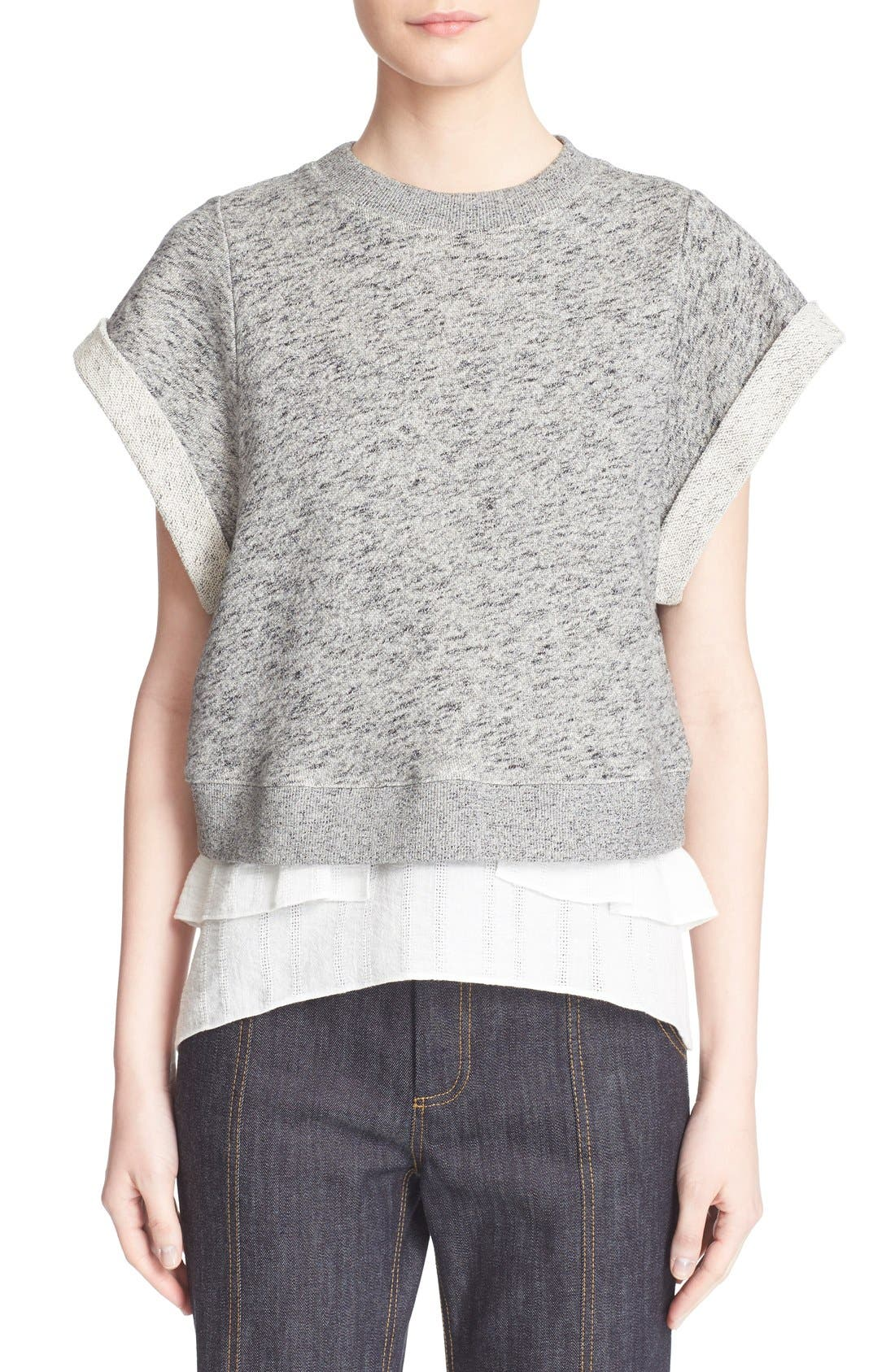 Alternate Image 1 Selected - Derek Lam 10 Crosby 2-in-1 Ruffle Hem Sweatshirt