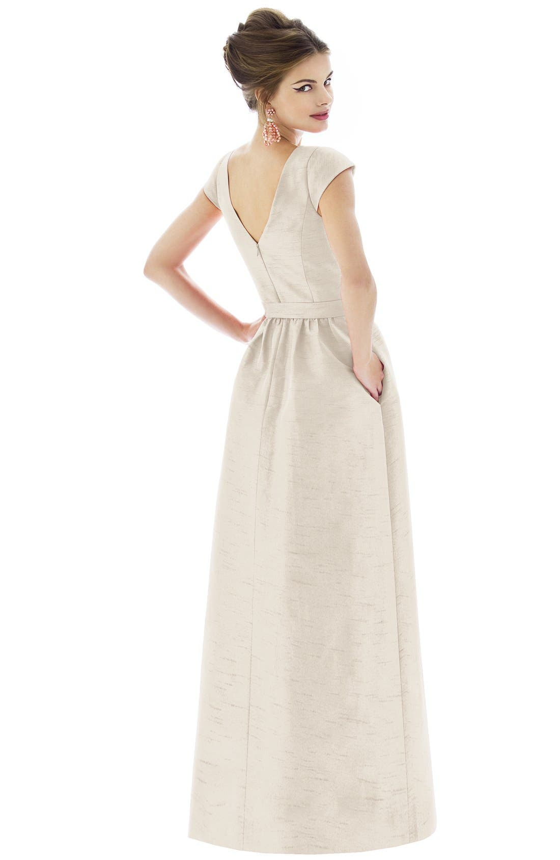 Alternate Image 2  - Alfred Sung Cap Sleeve Dupioni Full Length Dress