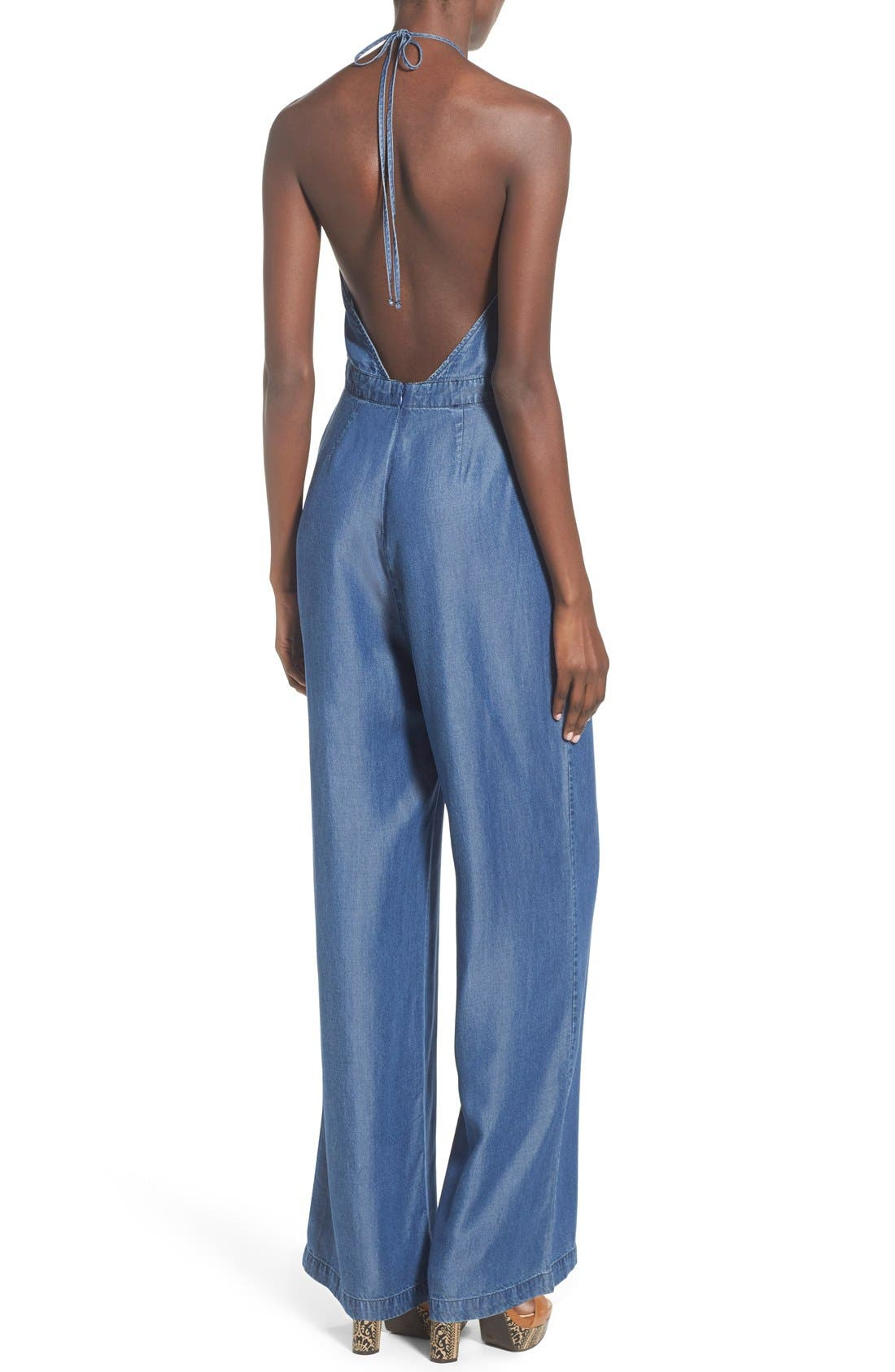 Alternate Image 2  - ASTR Chambray Halter Jumpsuit