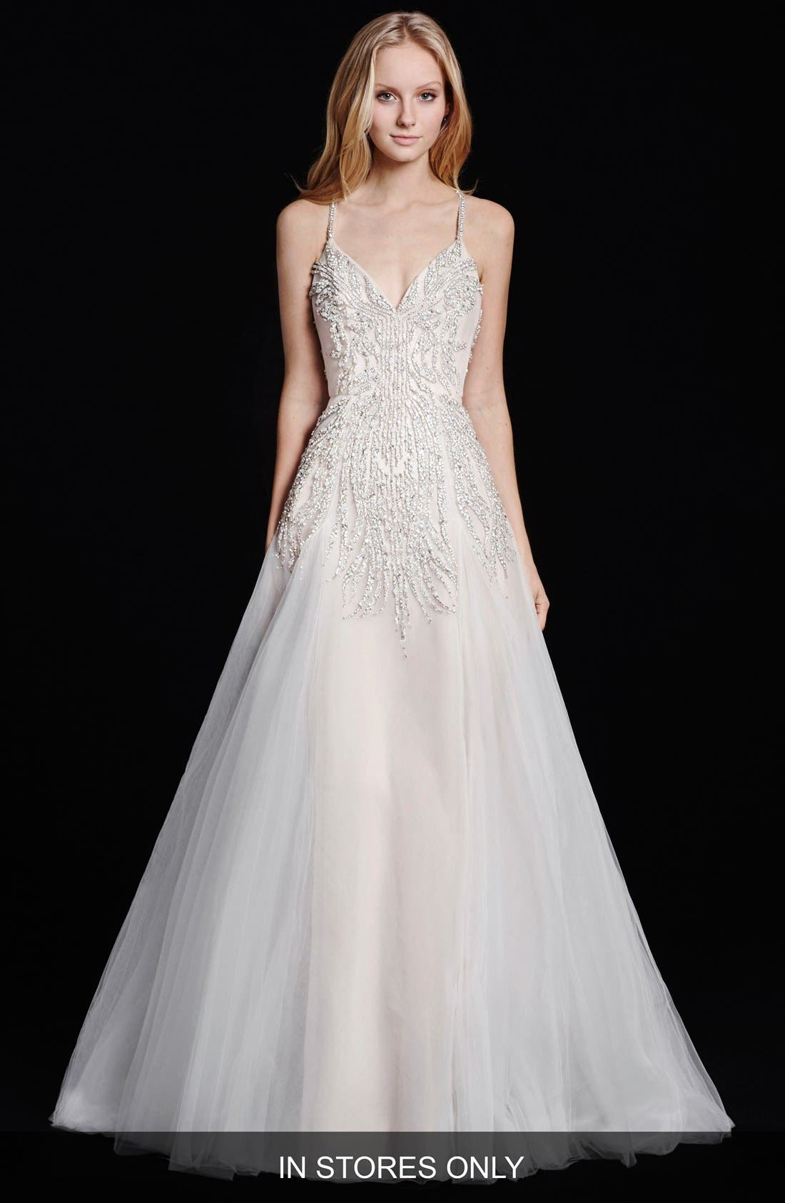 HAYLEY PAIGE 'Comet' Embellished Bodice A-Line Tulle Gown