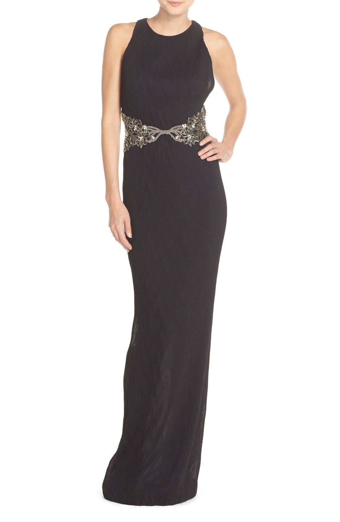 Main Image - Badgley Mischka Embellished Pleat Racerback Gown
