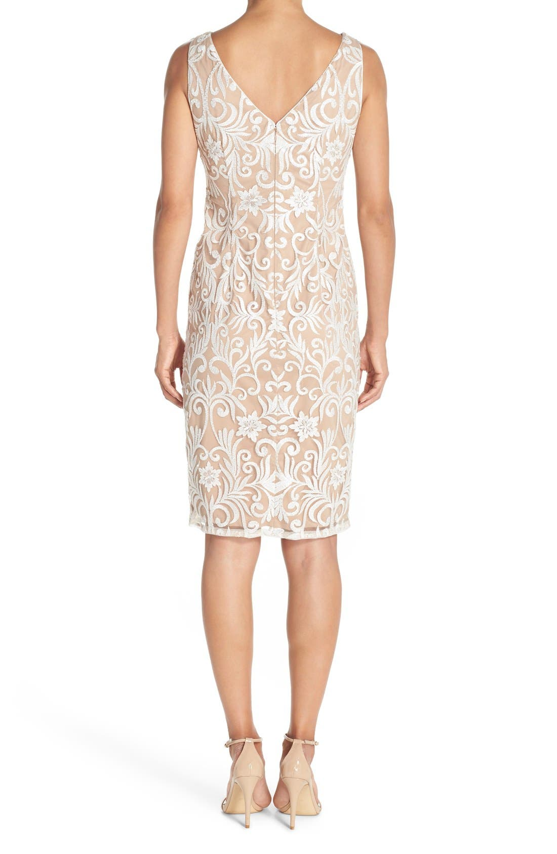 Alternate Image 2  - Adrianna Papell Sequin Embroidered Bateau Neck Sheath Dress