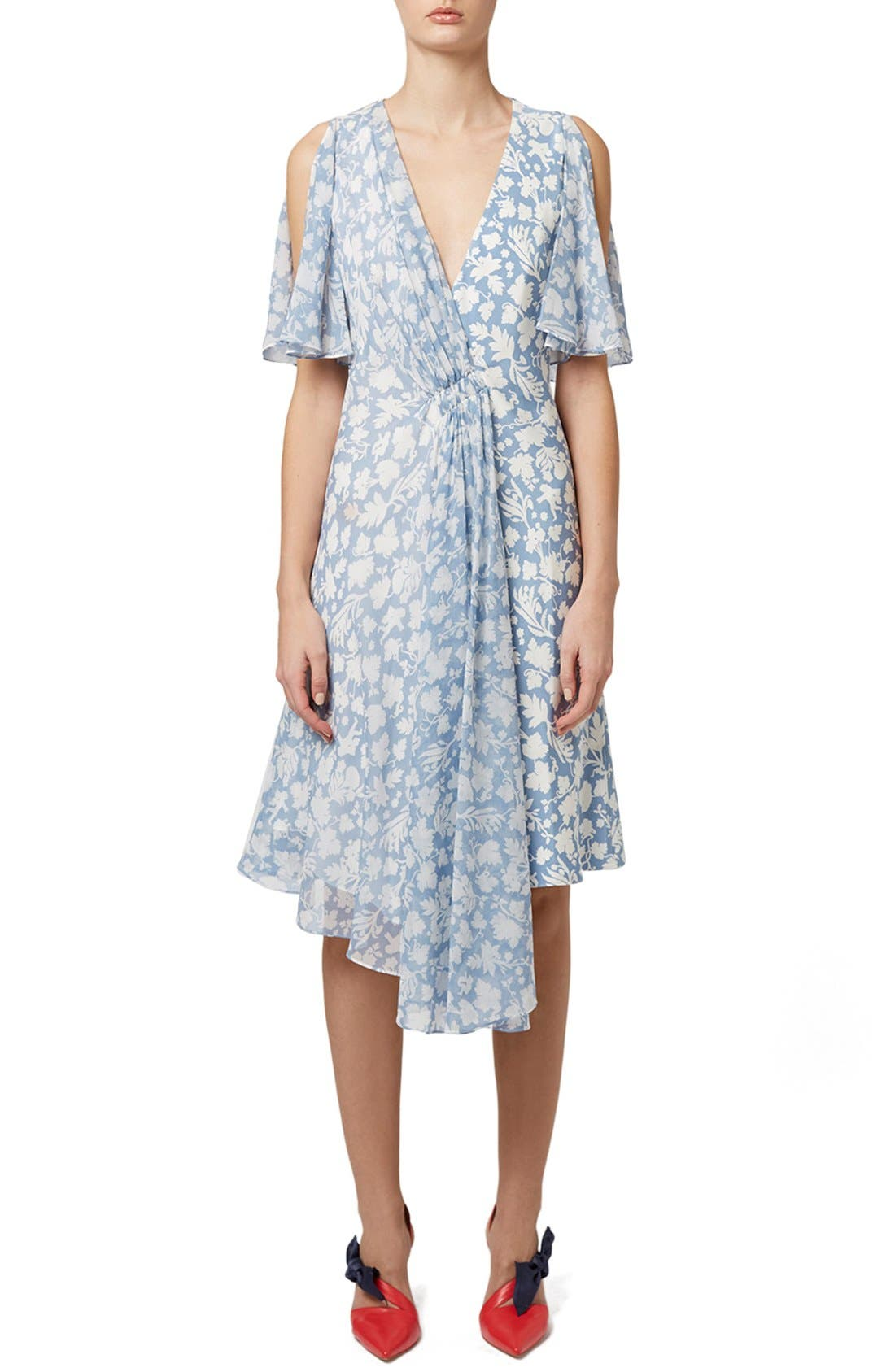 Alternate Image 1 Selected - Topshop Unique 'Belfour' Floral Print Silk Dress