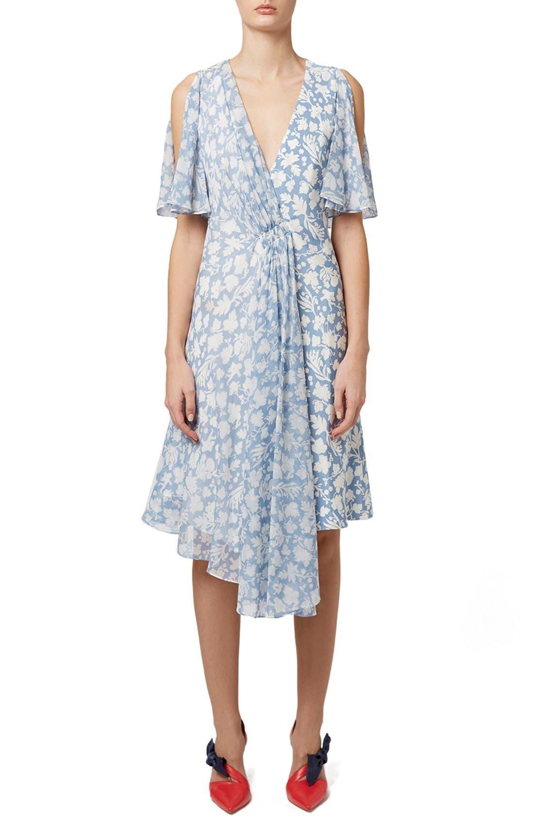 Main Image - Topshop Unique 'Belfour' Floral Print Silk Dress