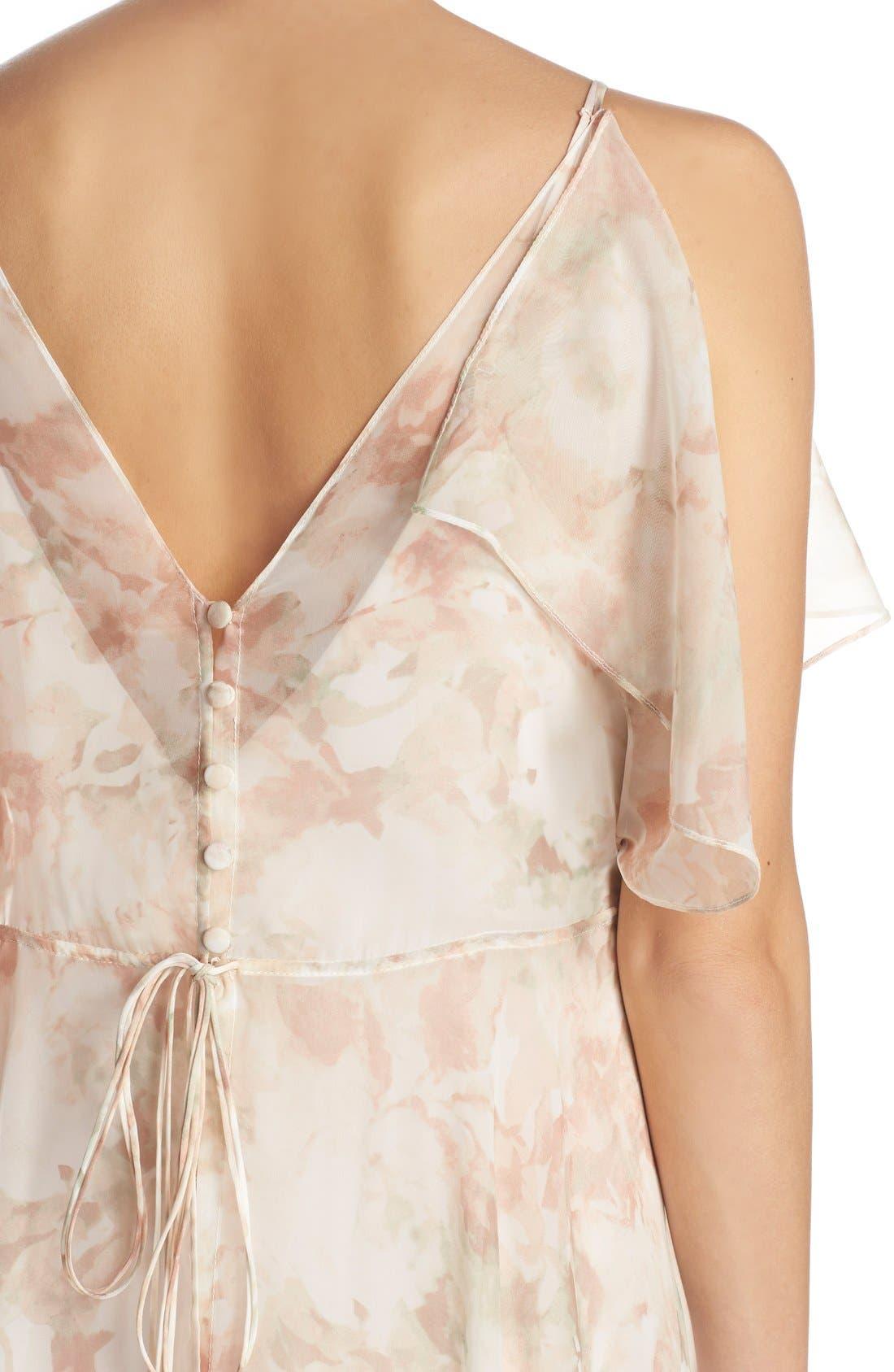 Alternate Image 4  - Jenny Yoo 'Cassie' Print Flutter Sleeve Chiffon Maxi Dress