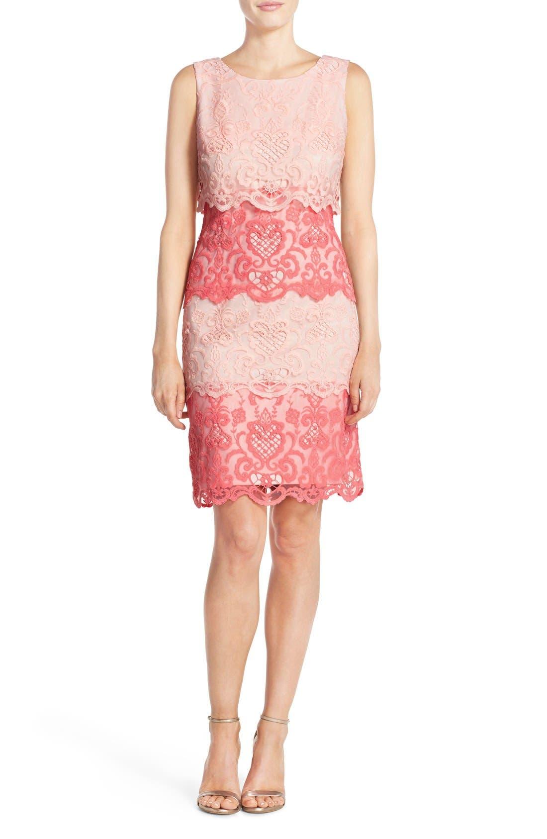 Alternate Image 4  - Chetta B Tiered Lace Sheath Dress