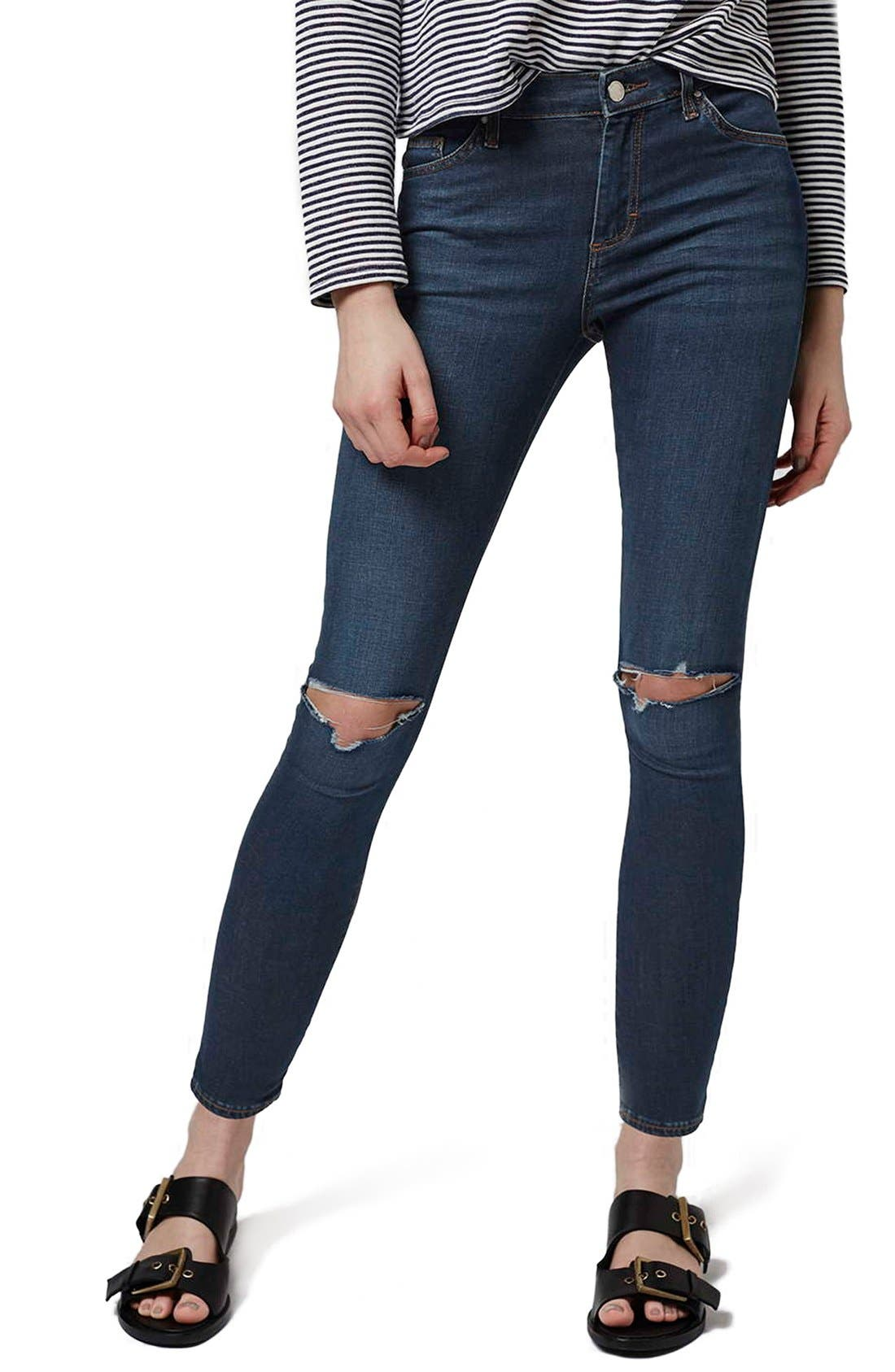 Alternate Image 1 Selected - Topshop 'Leigh' Vintage Ripped Jeans (Petite)