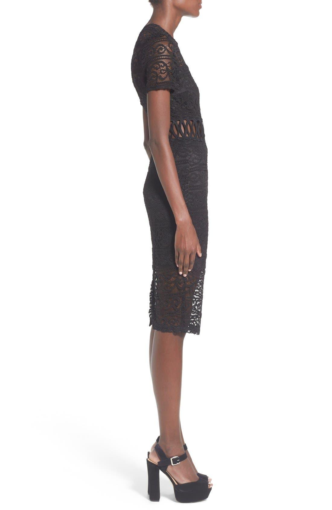 Alternate Image 3  - Missguided Lace Panel Midi Dress