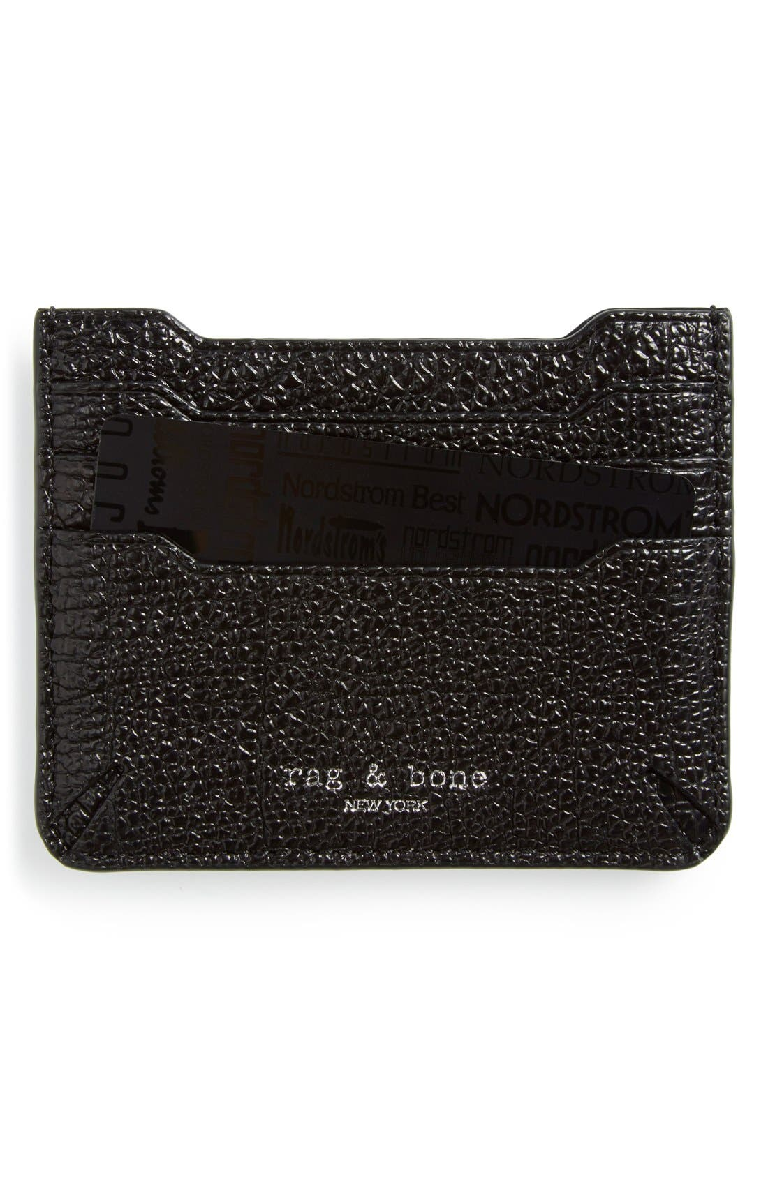 rag & bone 'Crosby' Crackle Leather Card Case