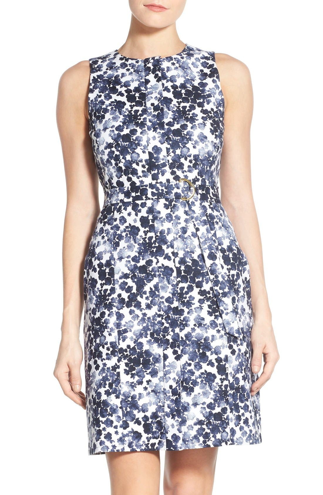 Alternate Image 1 Selected - MICHAEL Michael Kors 'Gemma' Print Belted A-Line Dress
