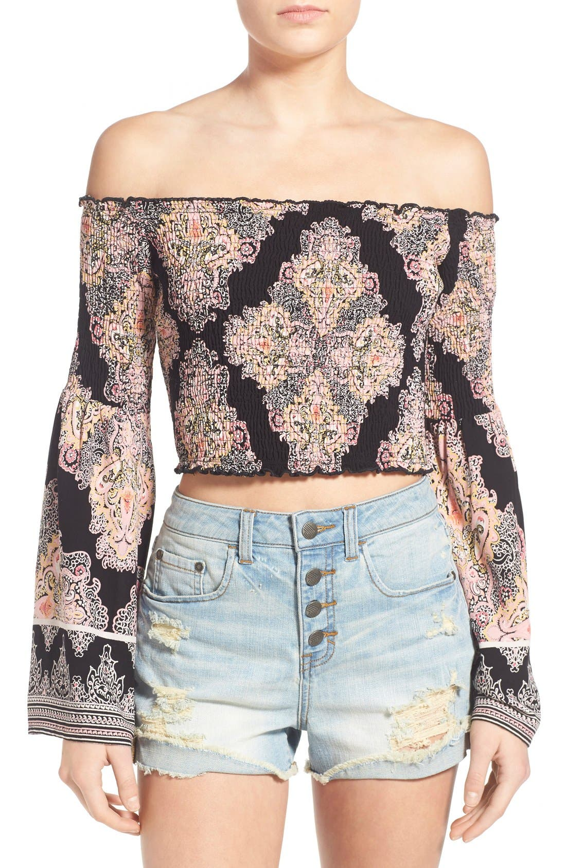 Alternate Image 1 Selected - Band of Gypsies Paisley Print Off the Shoulder Top