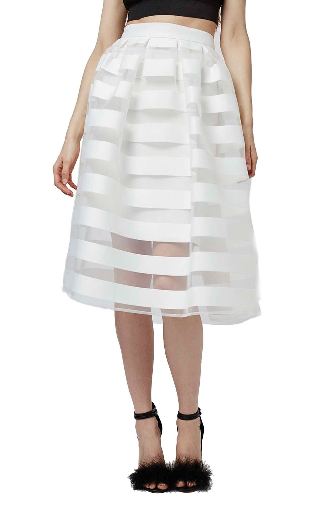 Main Image - Topshop 'Glass' Sheer Stripe Pleat Midi Skirt