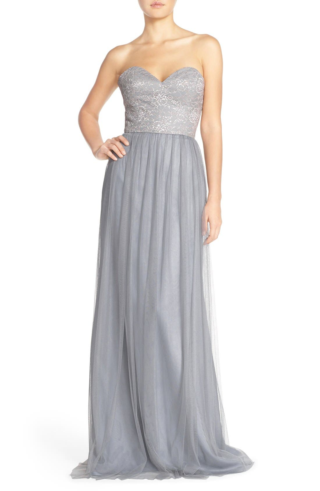 Alternate Image 1 Selected - Hayley Paige Occasions Strapless Metallic Lace & Net Gown