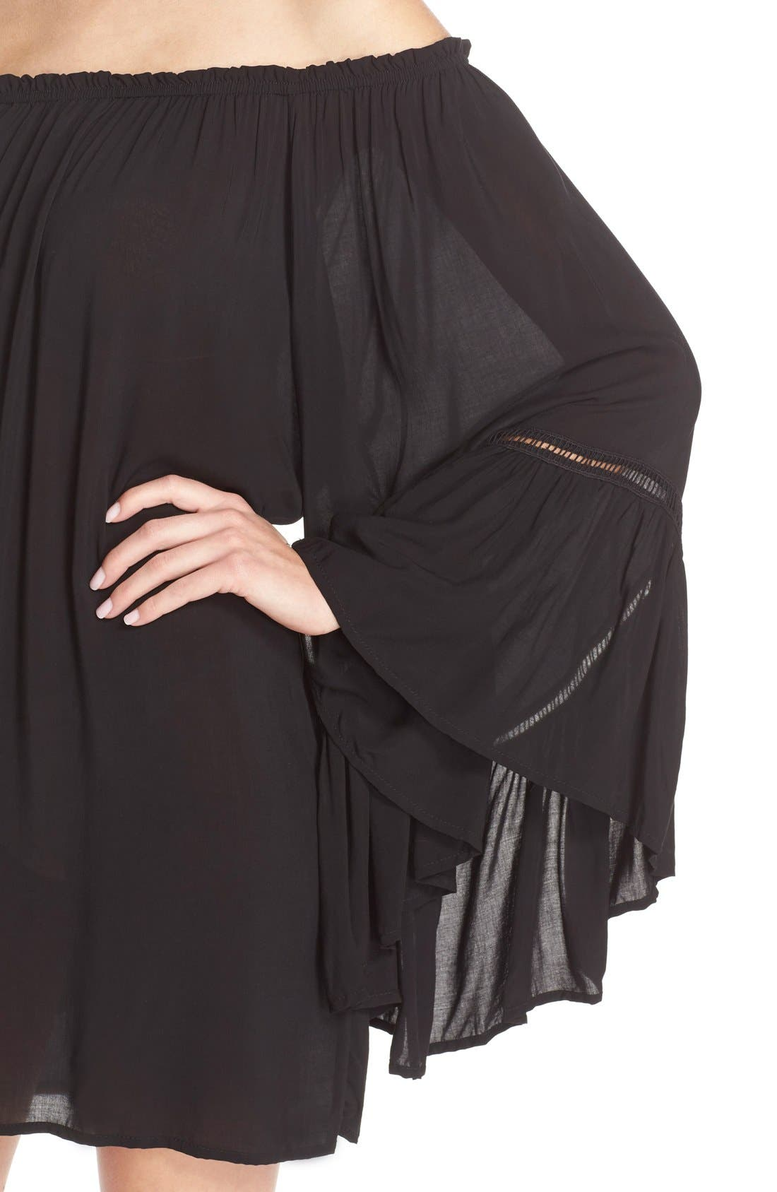 Alternate Image 4  - Elan Off the Shoulder Bell Sleeve Cover-Up Tunic