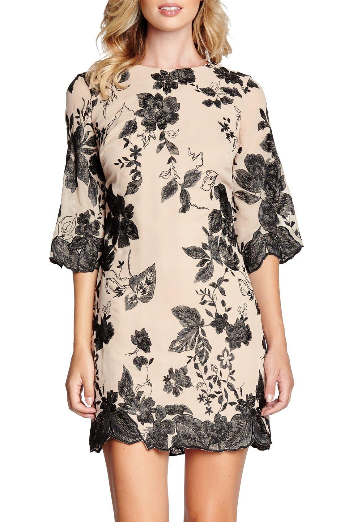 Main Image - Dress the Population 'Paige' Metallic Embroidered Chiffon Shift Dress